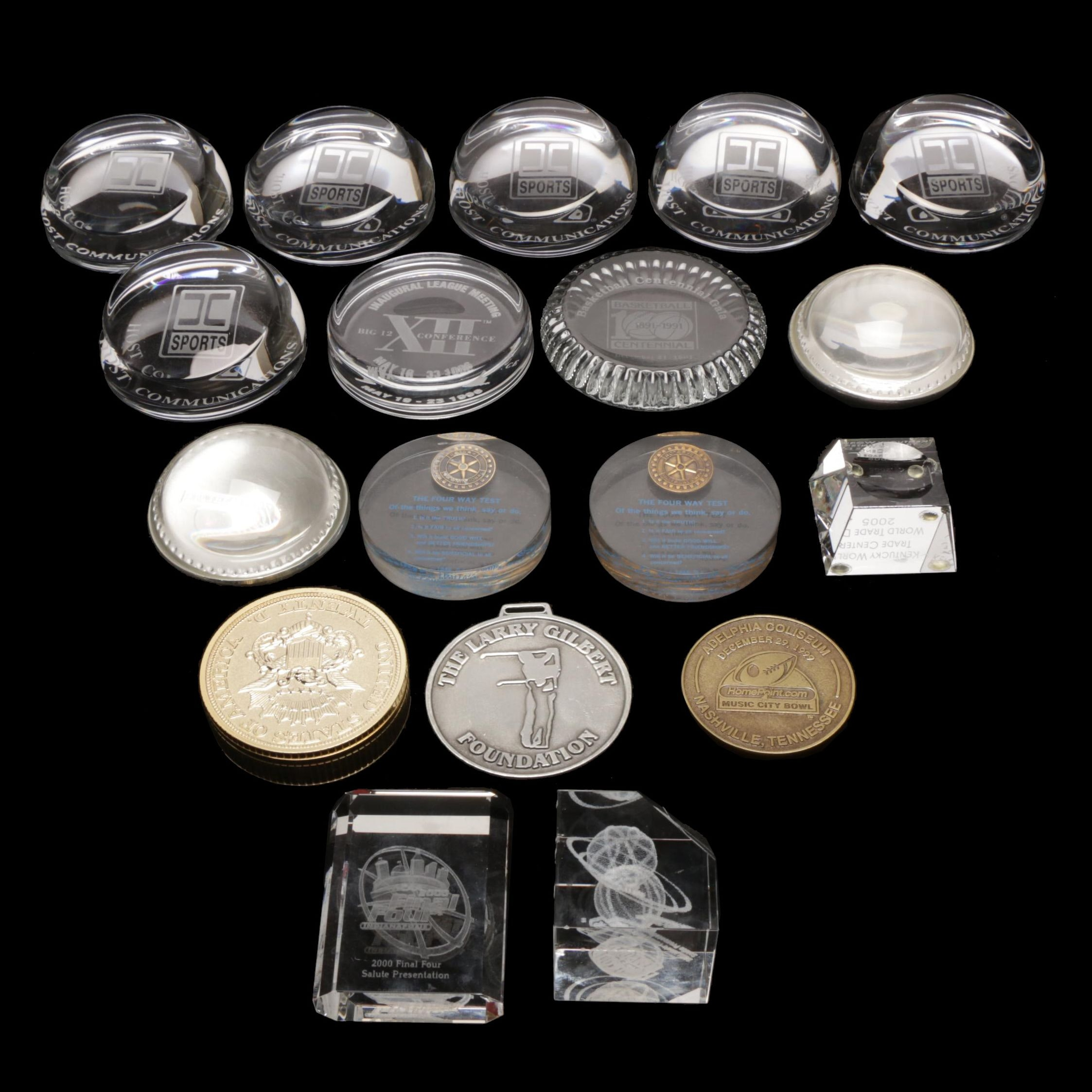 """Assorted Sports """"SEC,"""" """"UK,"""" """"Host Communication"""" Paperweights and Medallions"""
