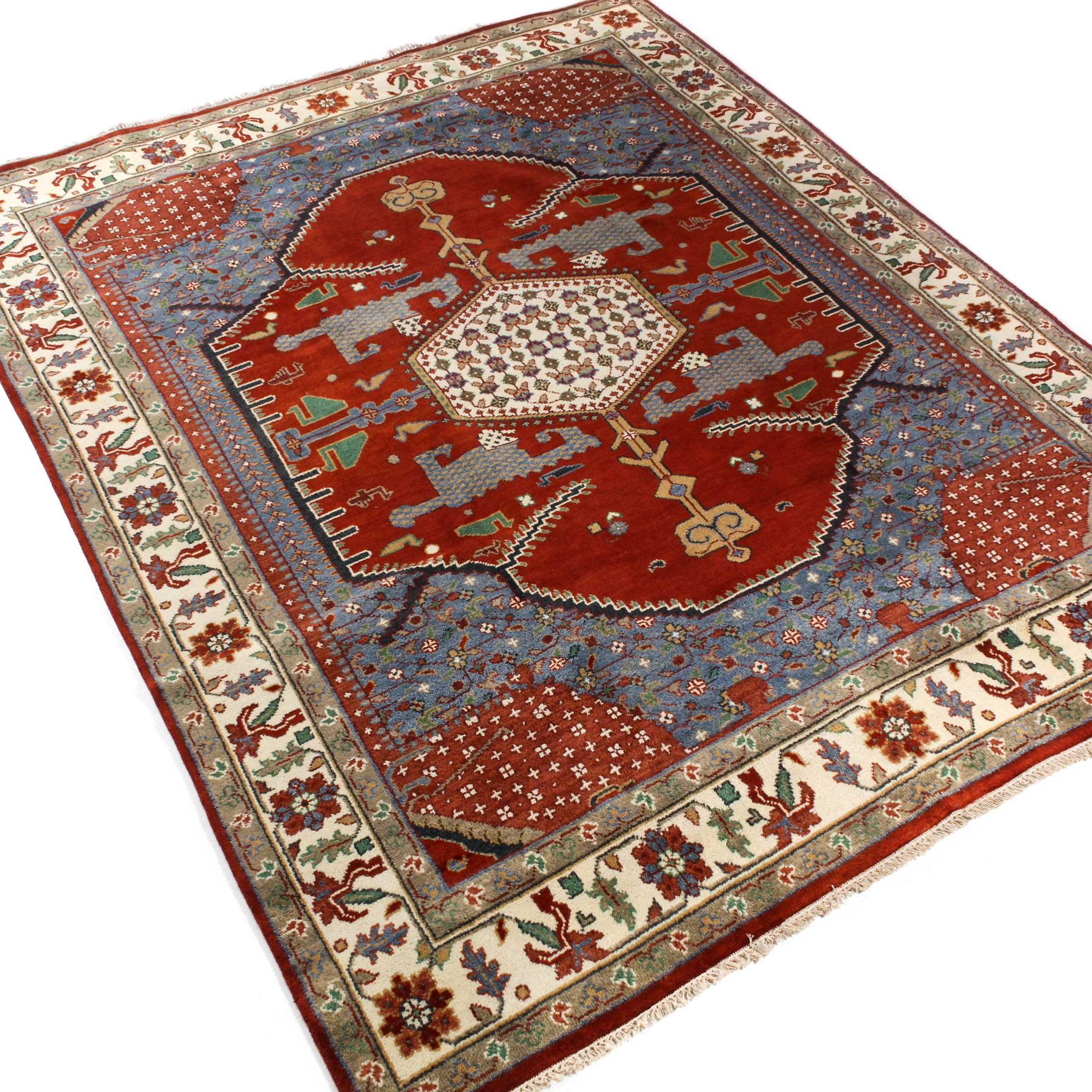 7.9' x 10' Hand-Knotted Indo-Persian Heriz Room Sized Rug