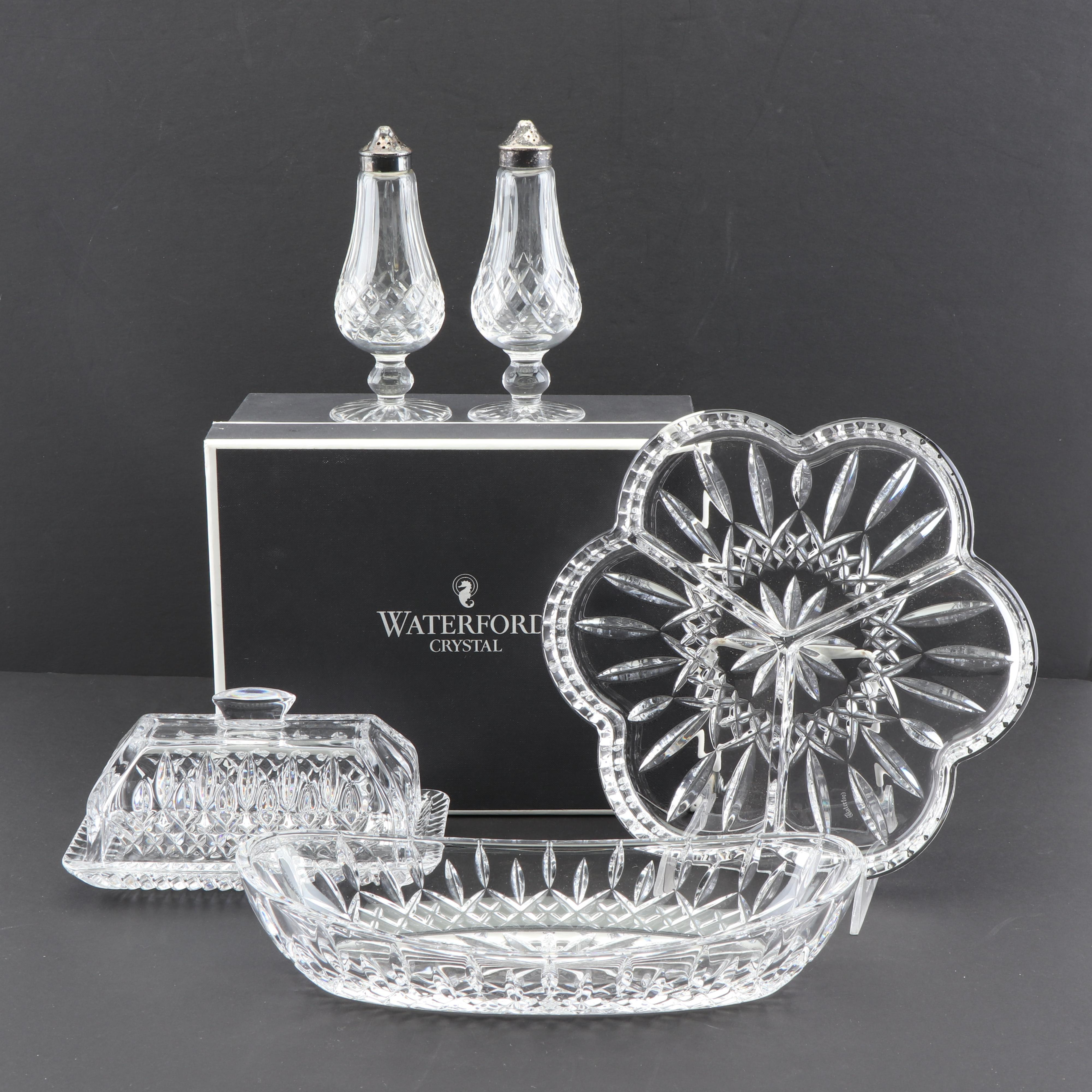 """Waterford Crystal """"Lismore"""" Celery Dish, Relish Dish, and Other Tableware"""