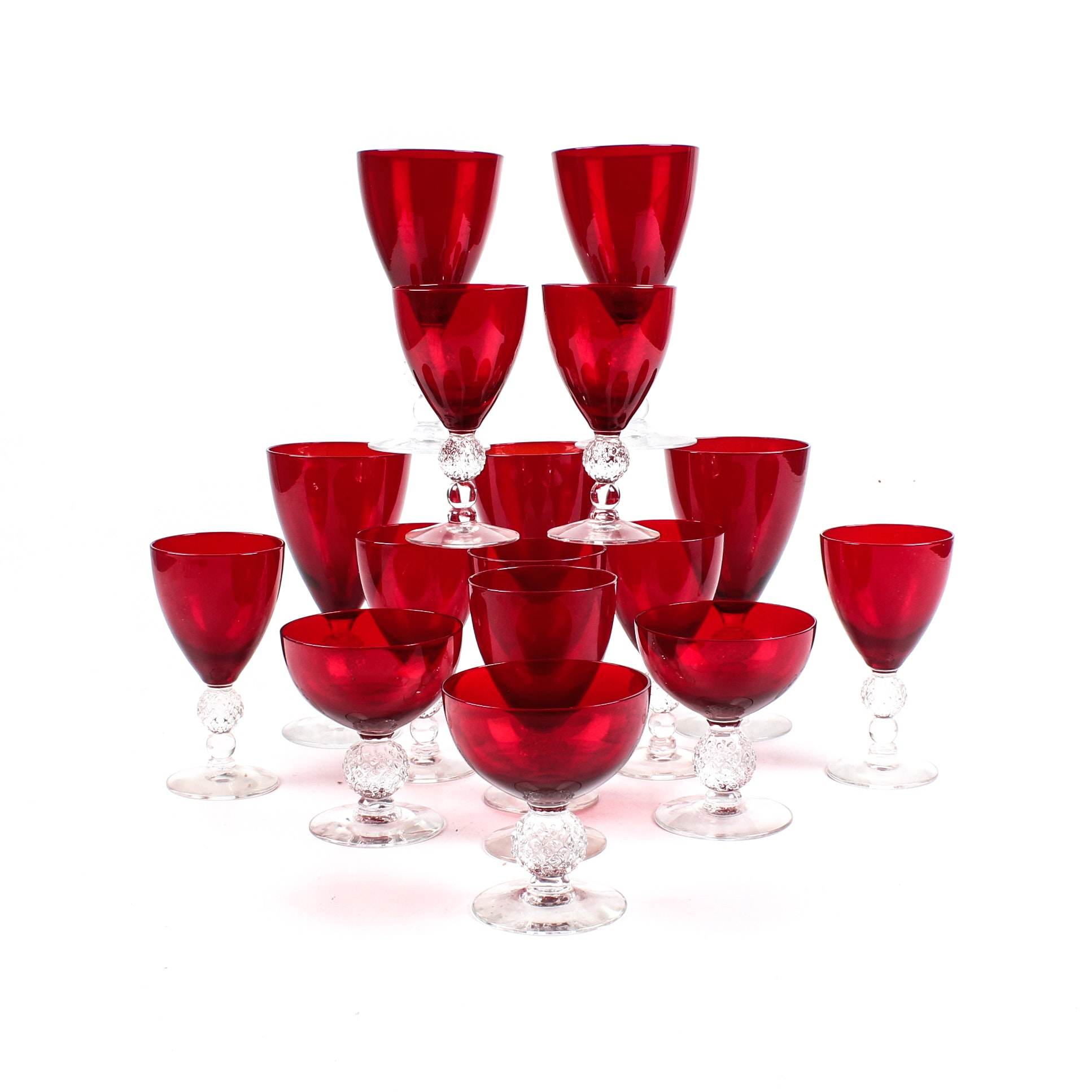 """Morgantown """"Spanish Red"""" Drinkware with Golf Ball Stems"""