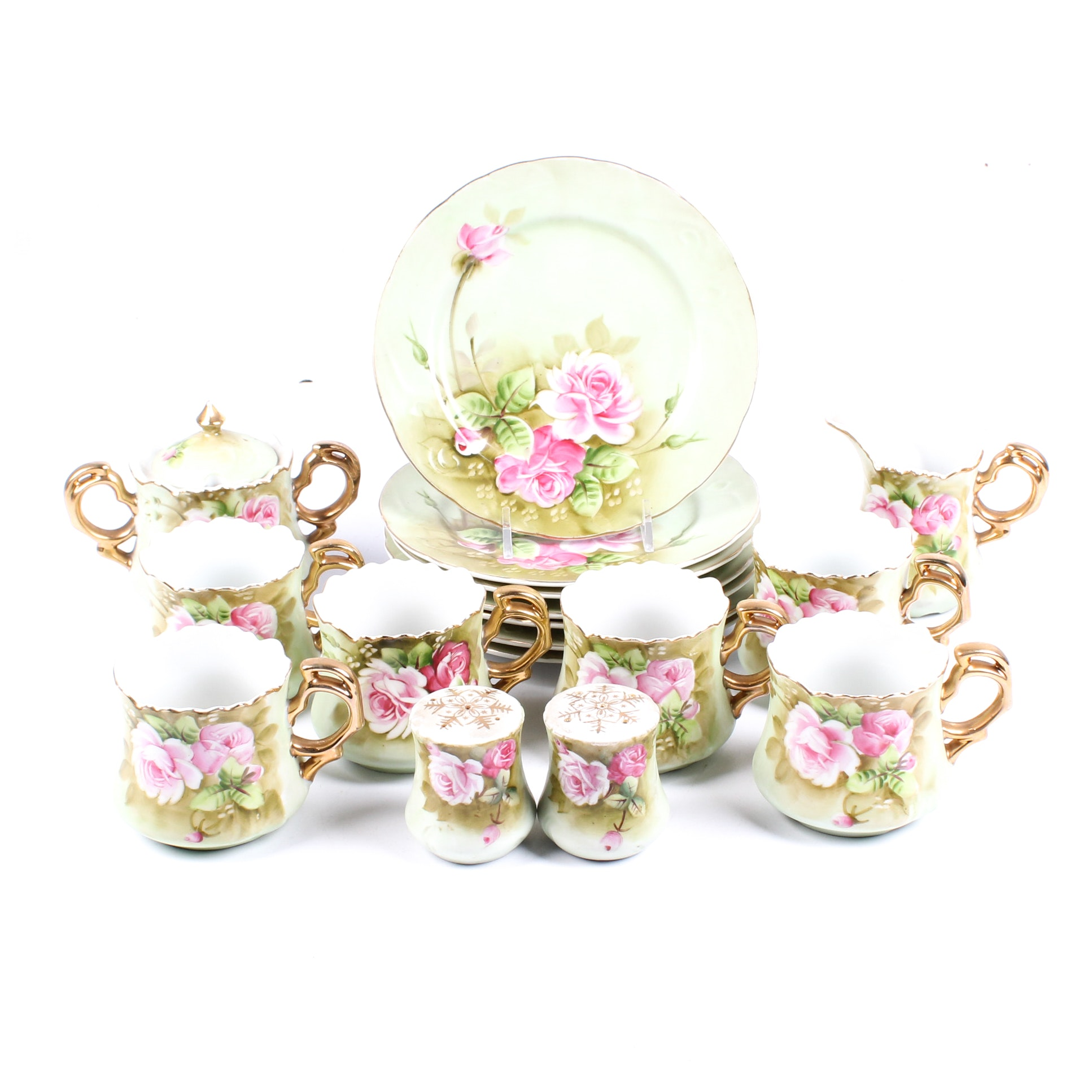 Lefton China Porcelain Snack Set with Hand Painted Rose Decoration