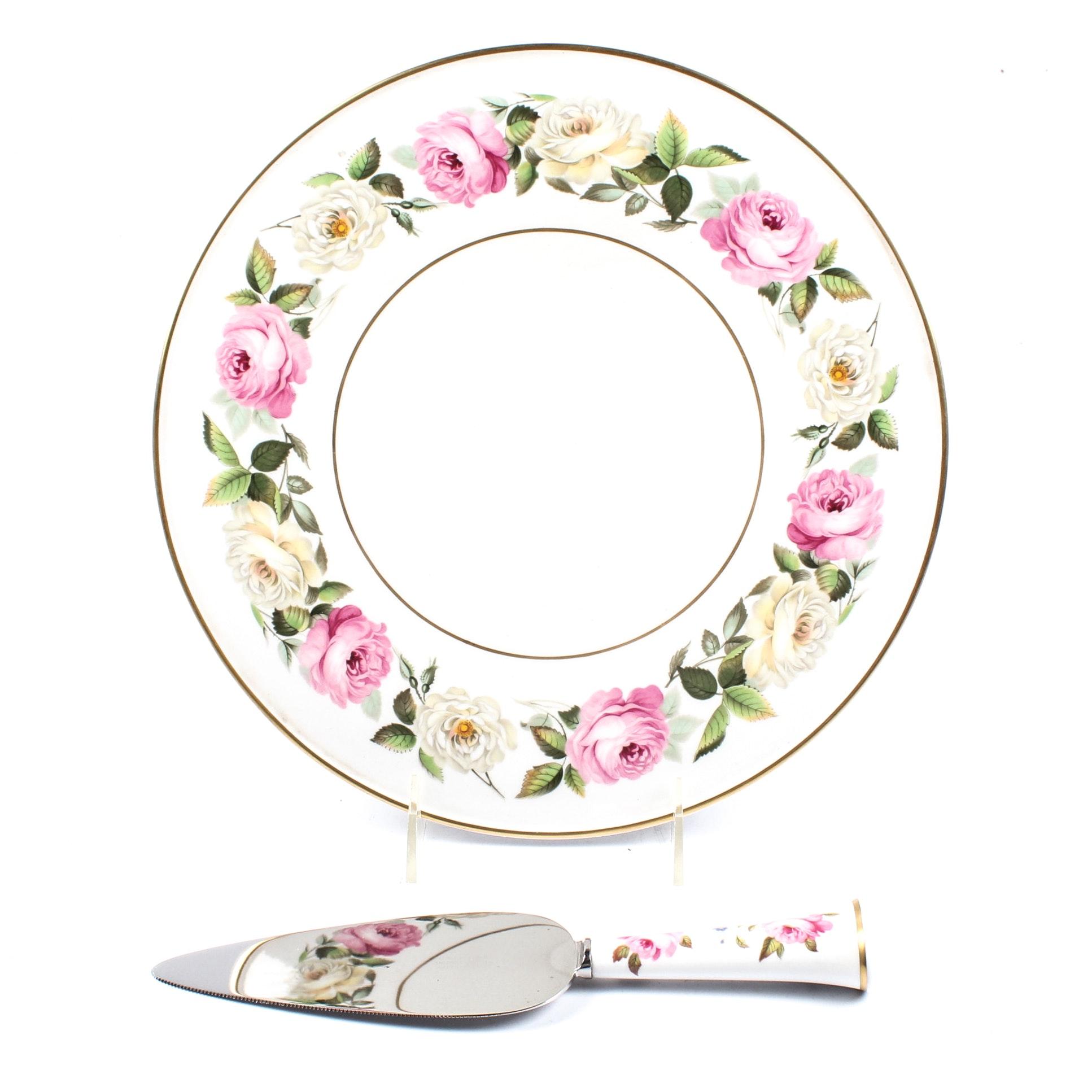 "Royal Worcester ""Royal Garden"" Cake Plate and Server"