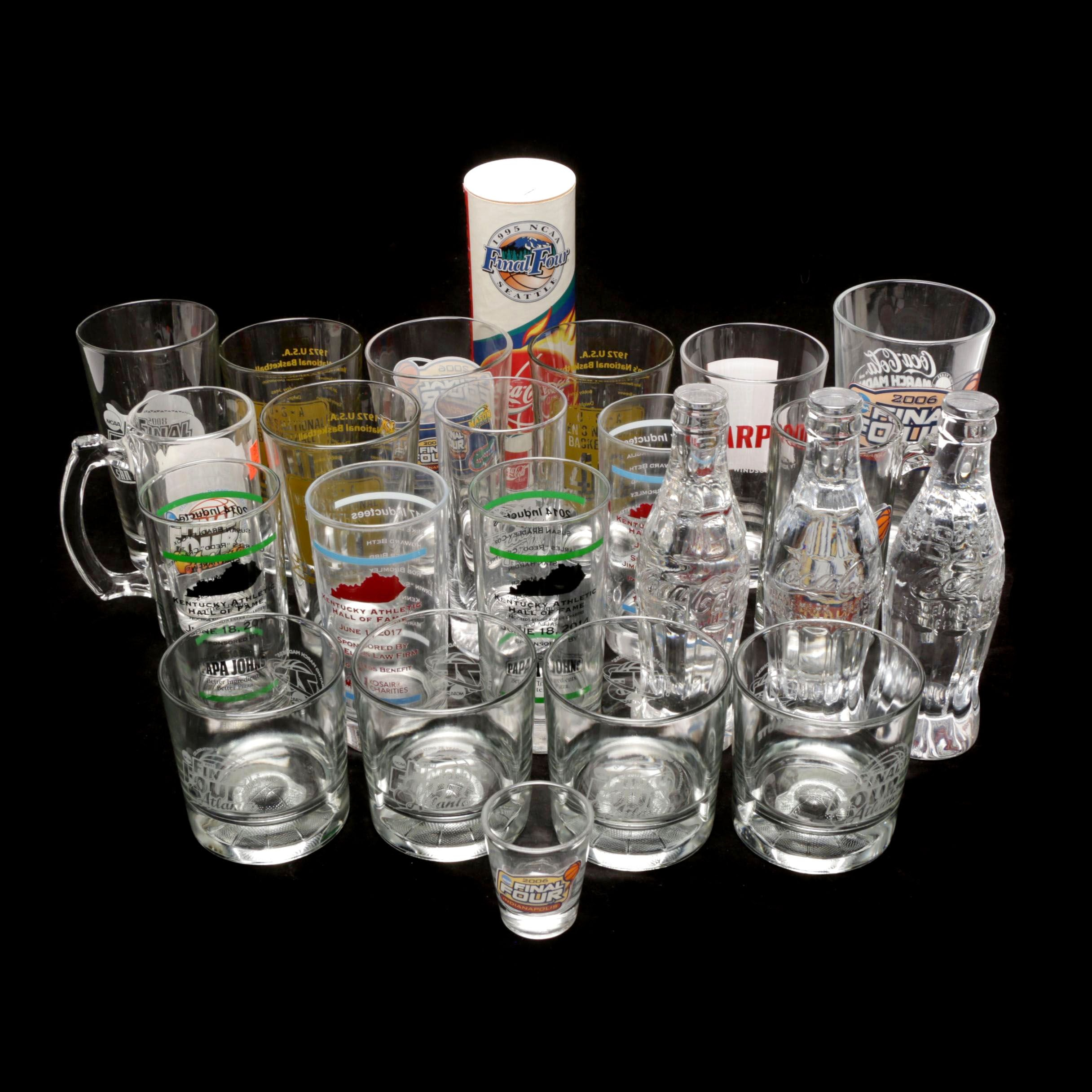 Assorted NCAA Basketball Commemorative Glasses and More
