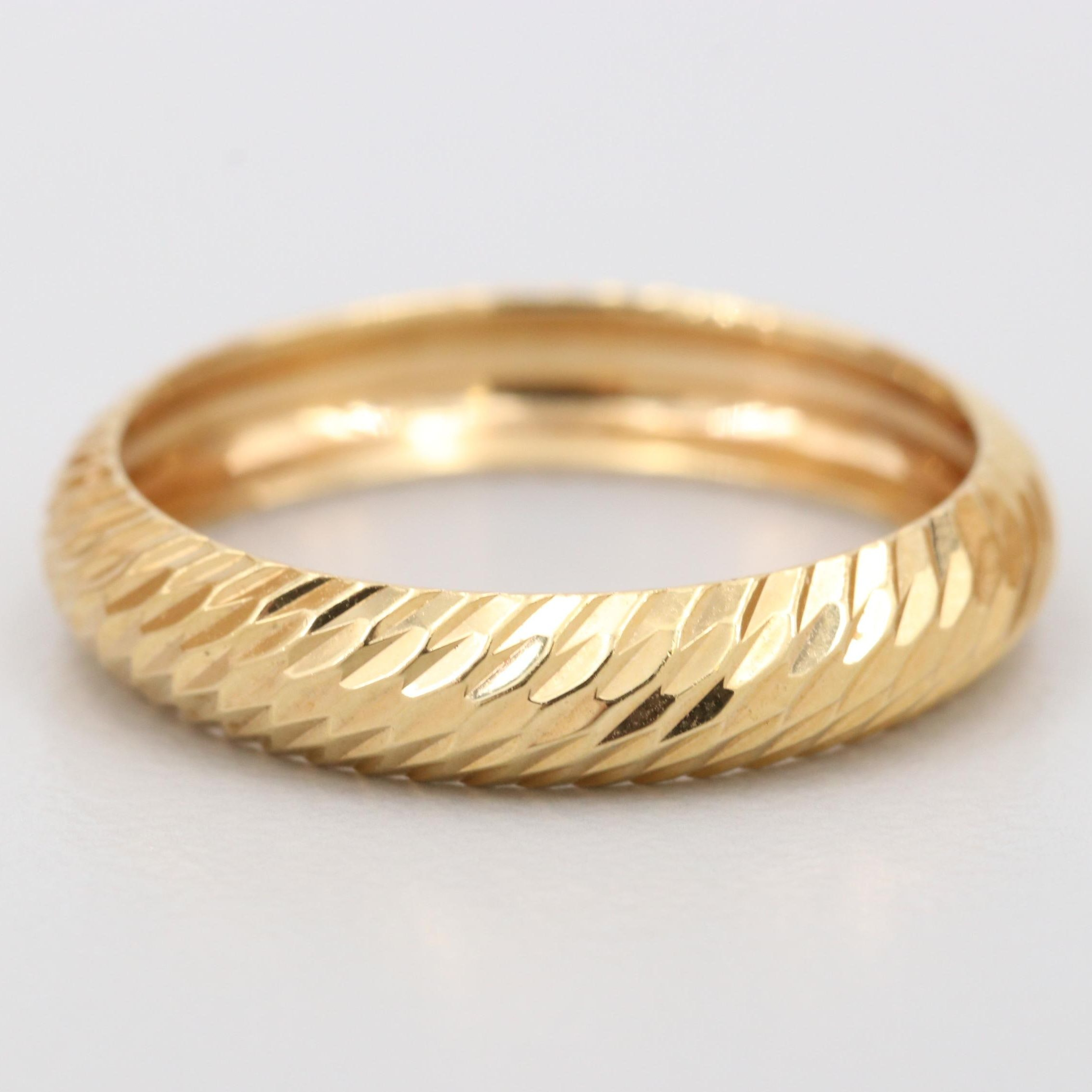 14K Yellow Gold Domed Band Ring