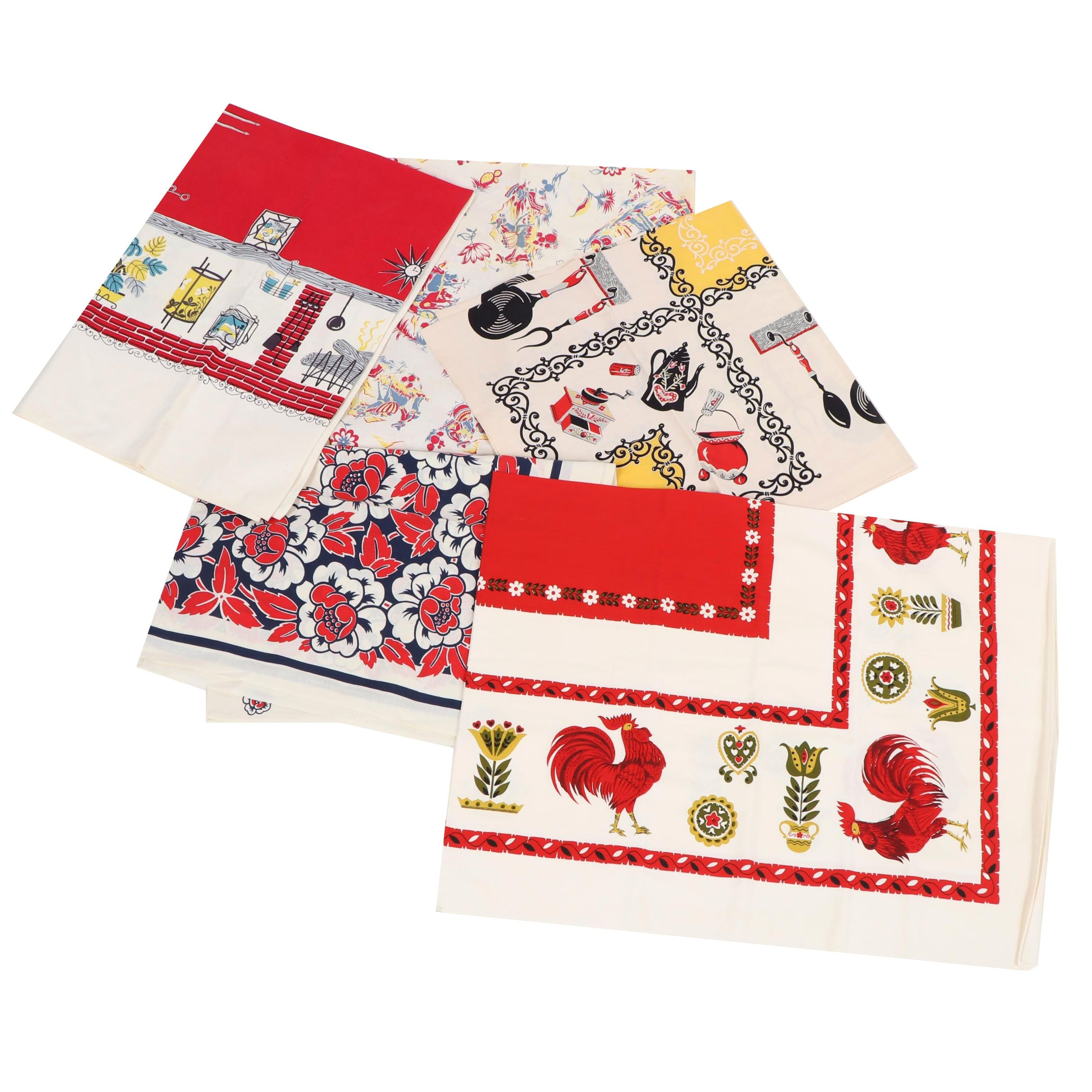 Printed Floral, Animal, and Country Kitchen Motif Table Linens, Mid-20th Century