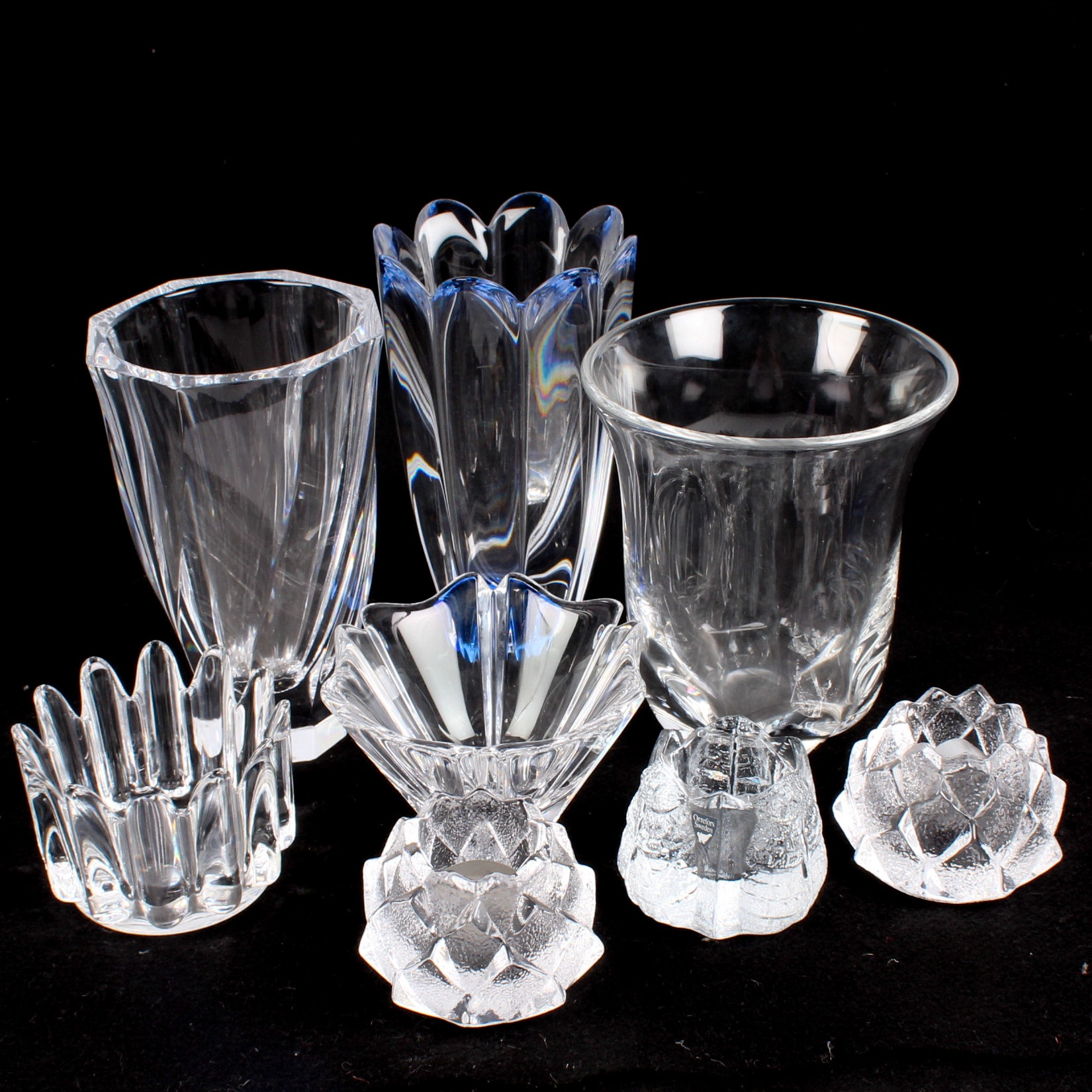Orrefors Candle Holders and Vases Featuring Jan Johansson Mayflower Blue
