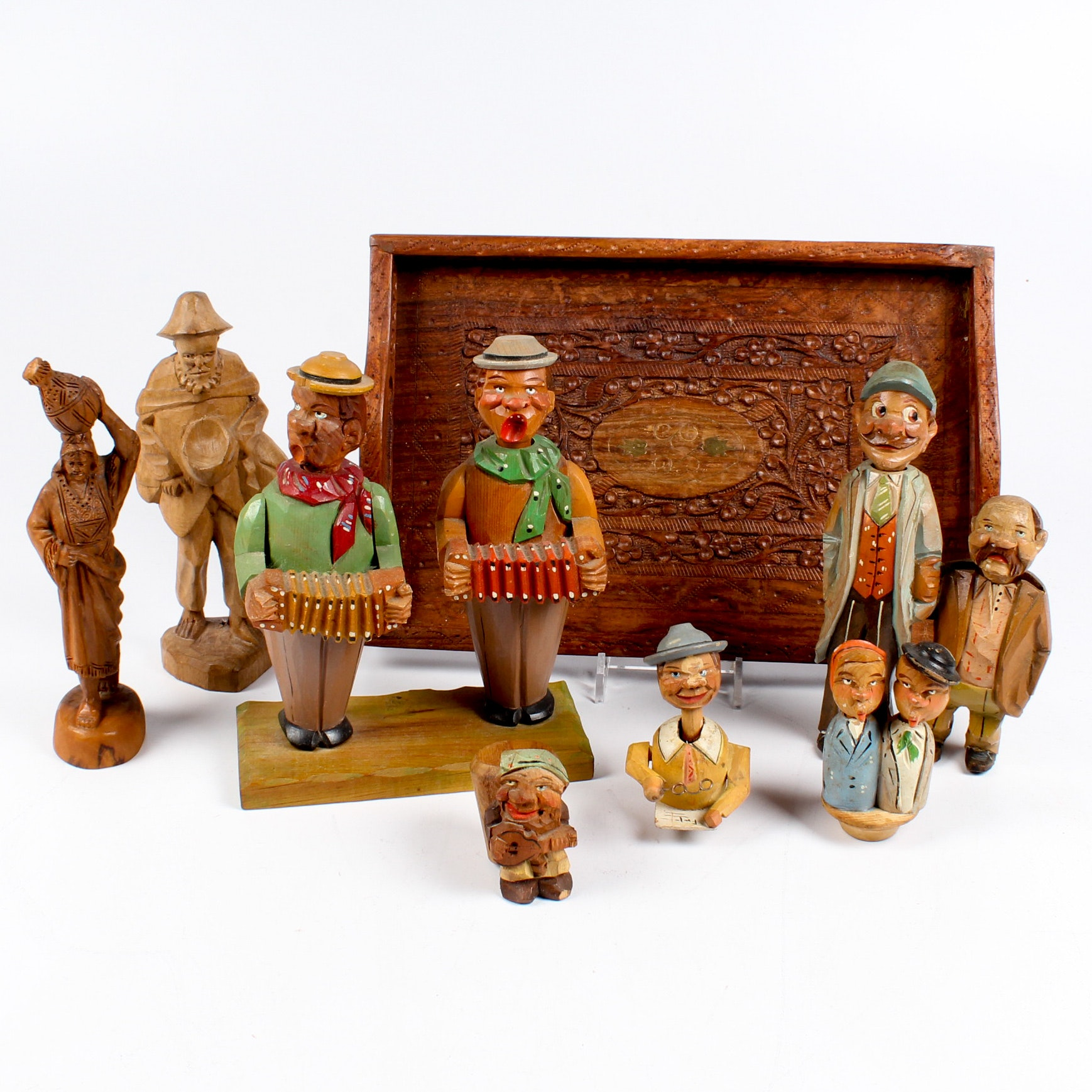 European Carved Wooden Figures and Bar Tools