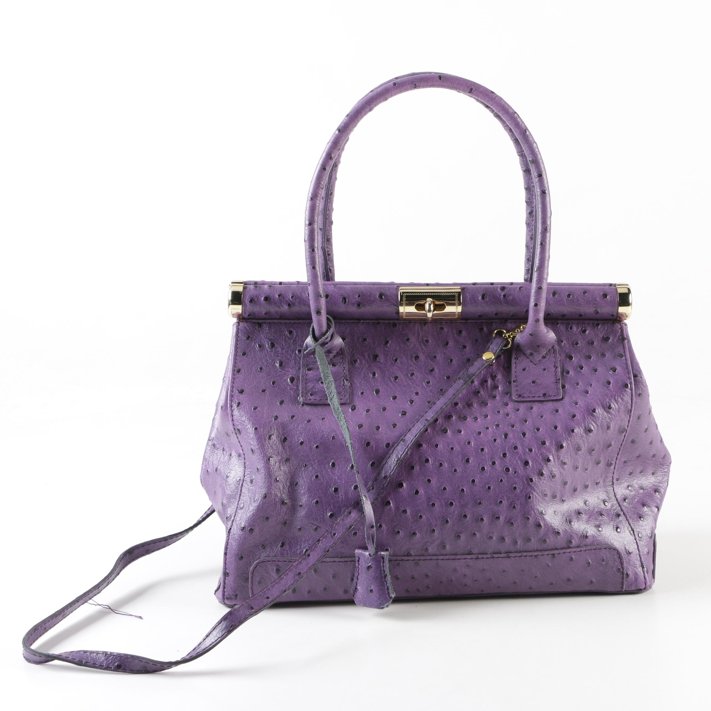 Italian Purple Ostrich Embossed Leather Serena Bag