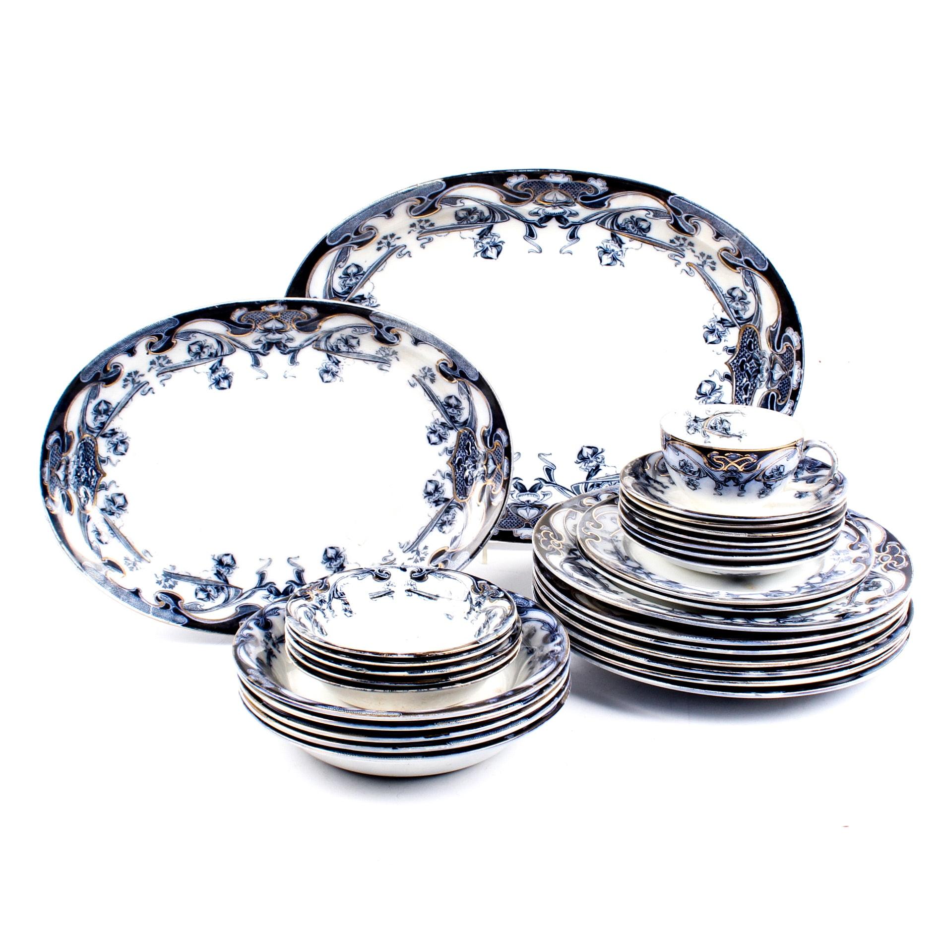 """Art Nouveau Wilkinson """"Iris"""" Earthenware Dinnerware"""