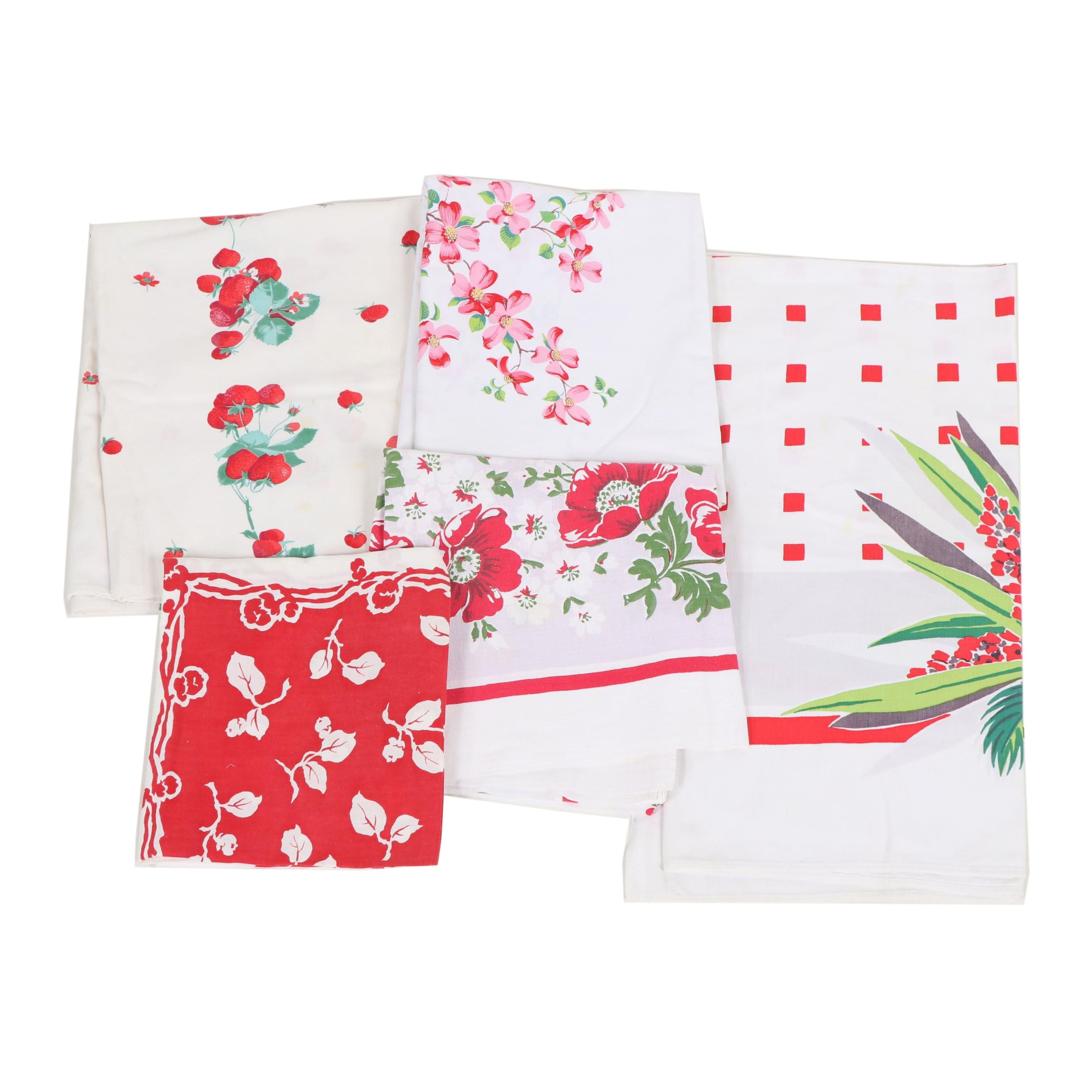 Printed Floral Table Linens, Mid-20th Century