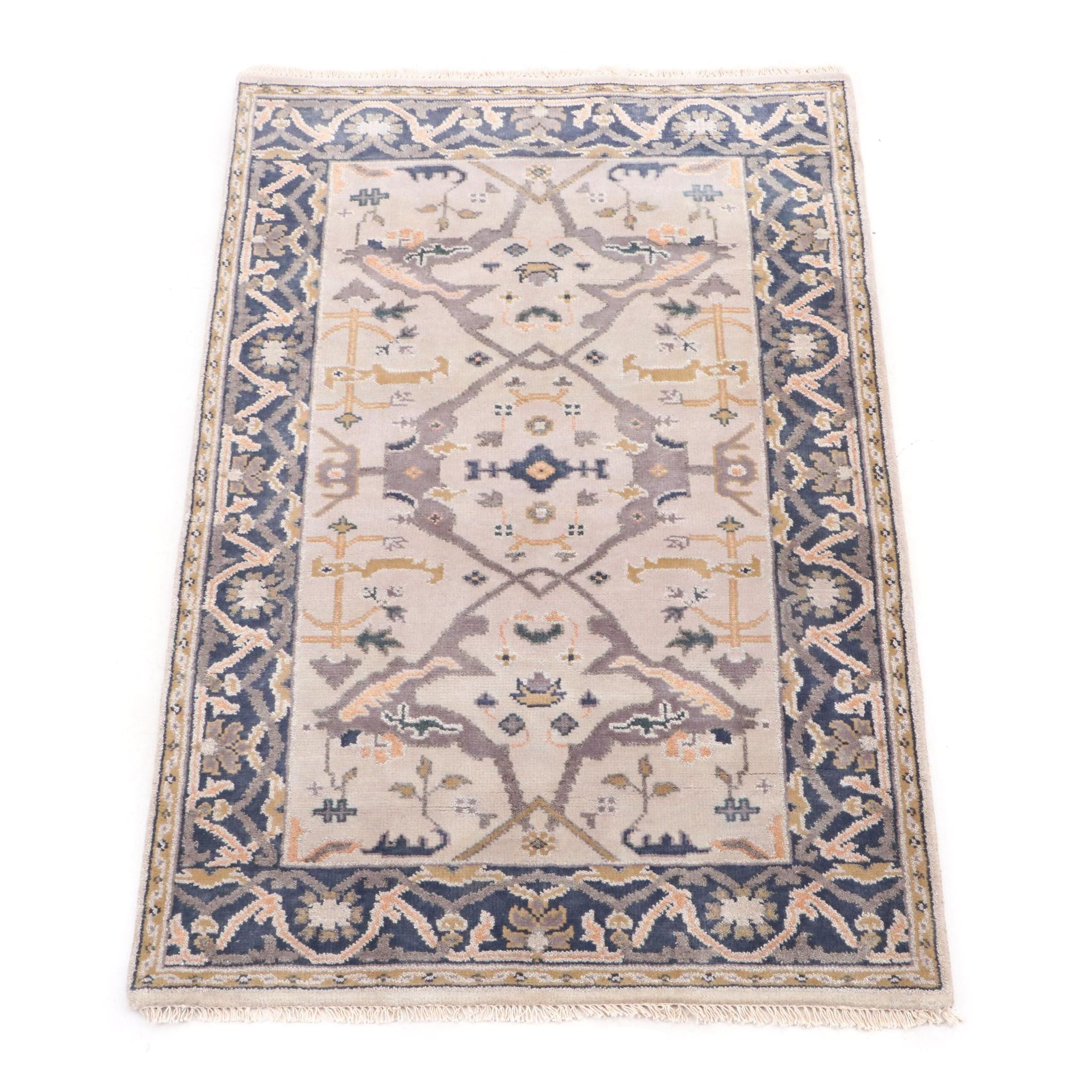 Hand-Knotted Indo-Turkish Oushak Wool Rug