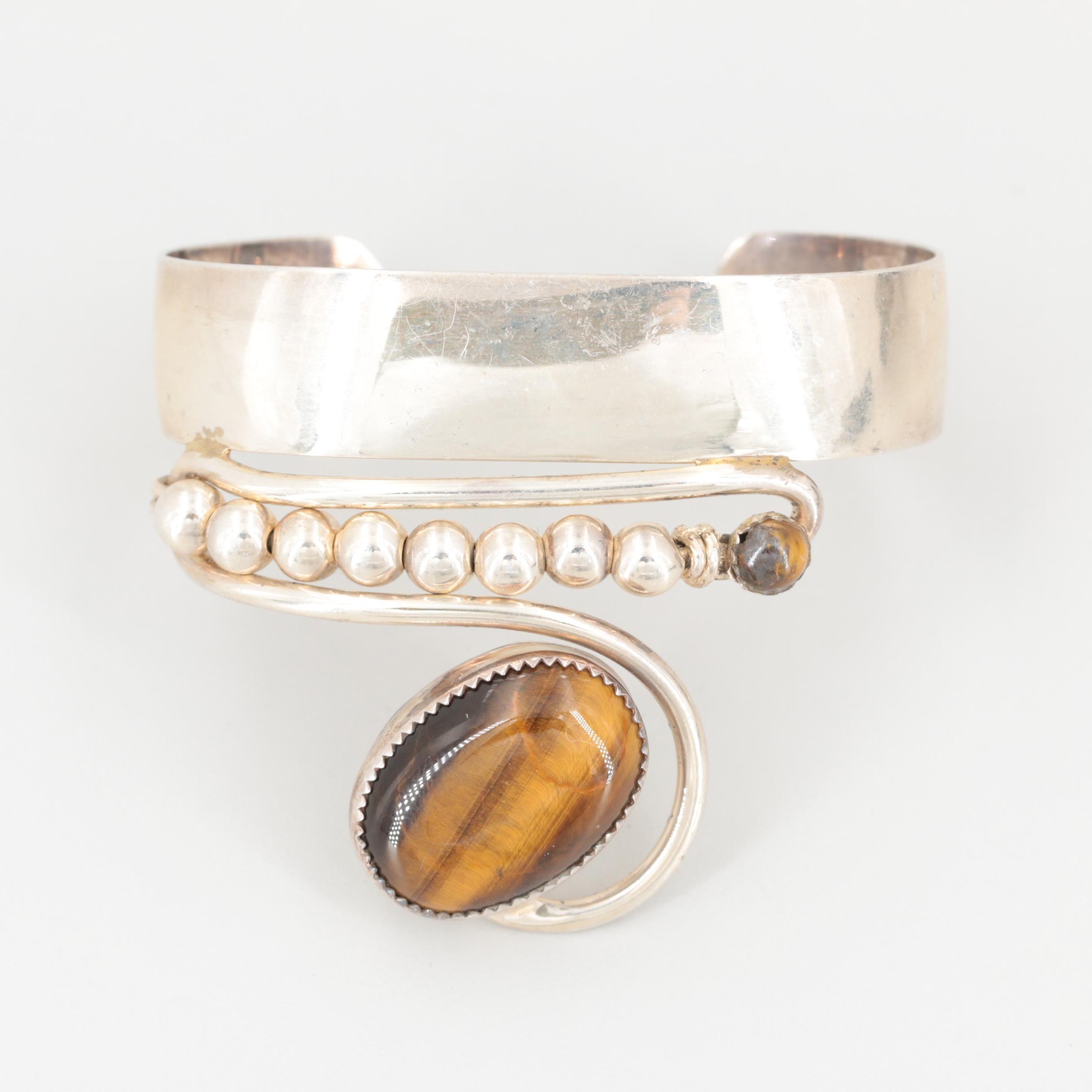 Bill Kirkham Sterling Silver Gemstone Cuff Bracelet