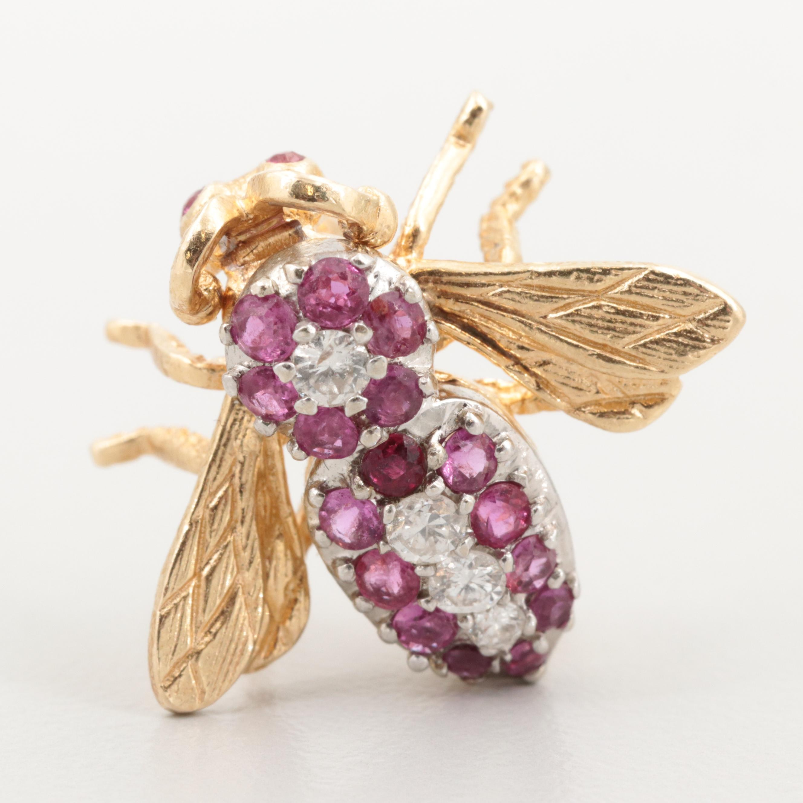 14K Yellow Gold Diamond and Ruby Insect Motif Brooch