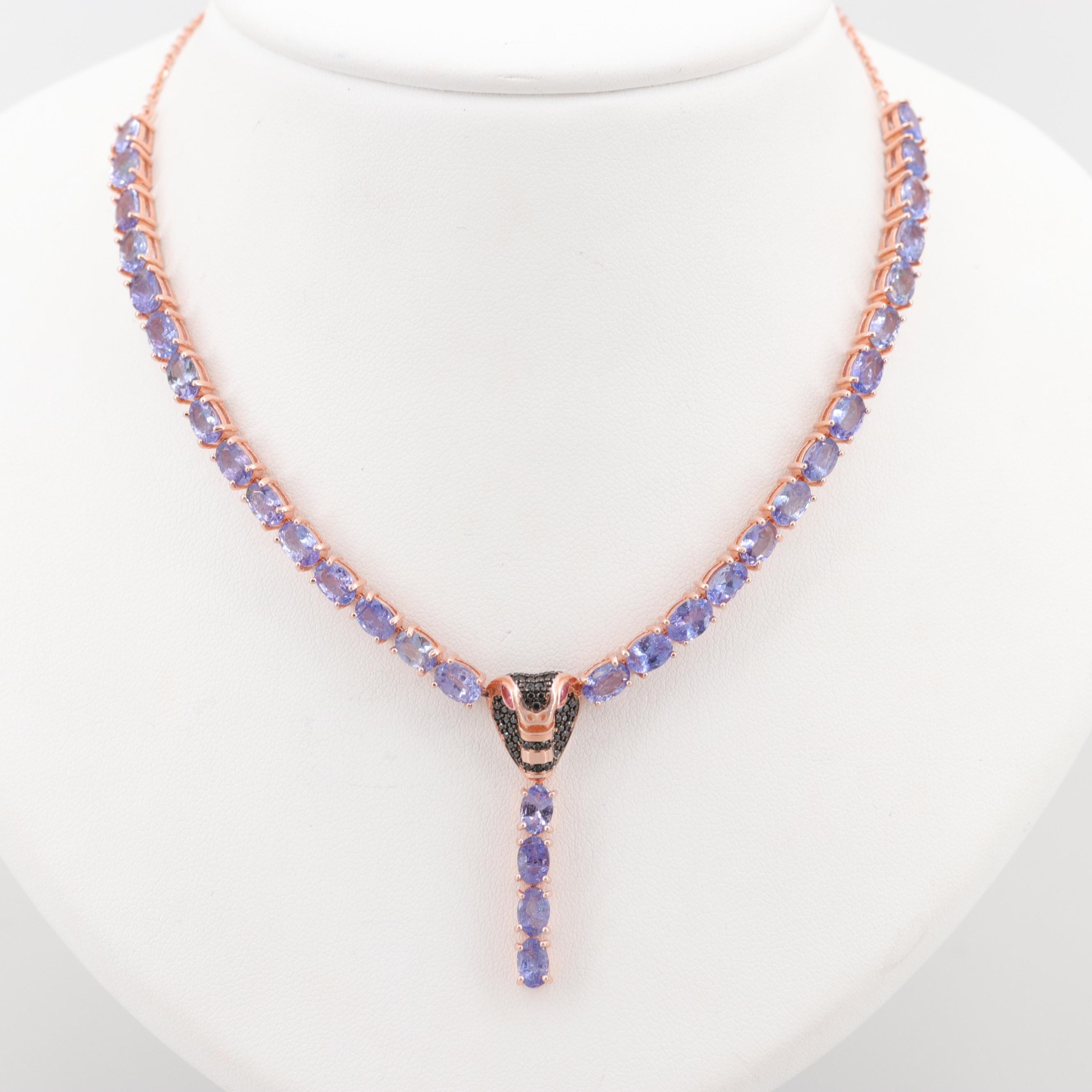 Rose Gold Wash on Sterling Silver Multi-Gemstone Cobra Necklace