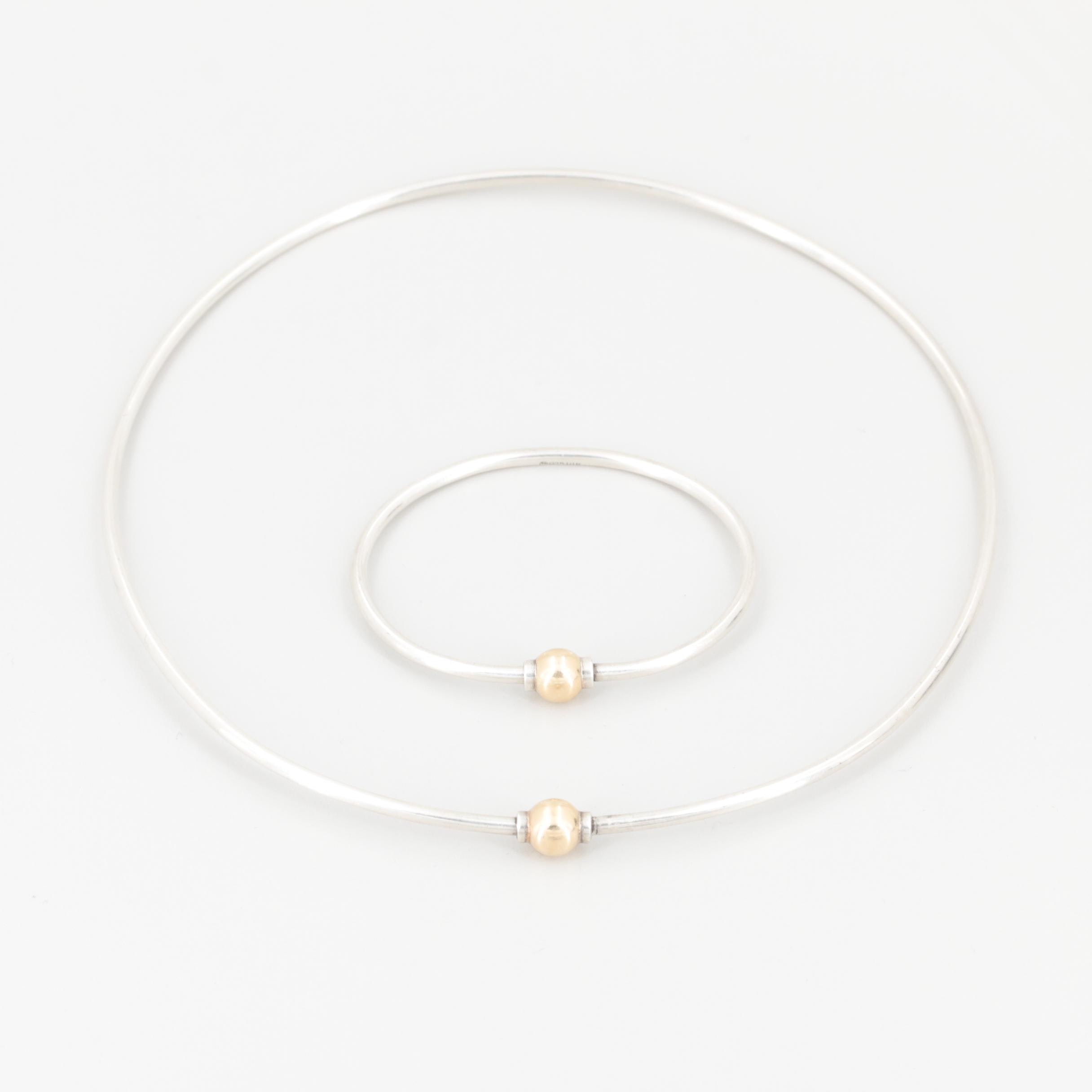 Eden Sterling Silver Collar and Bracelet Set with 14K Gold Accents