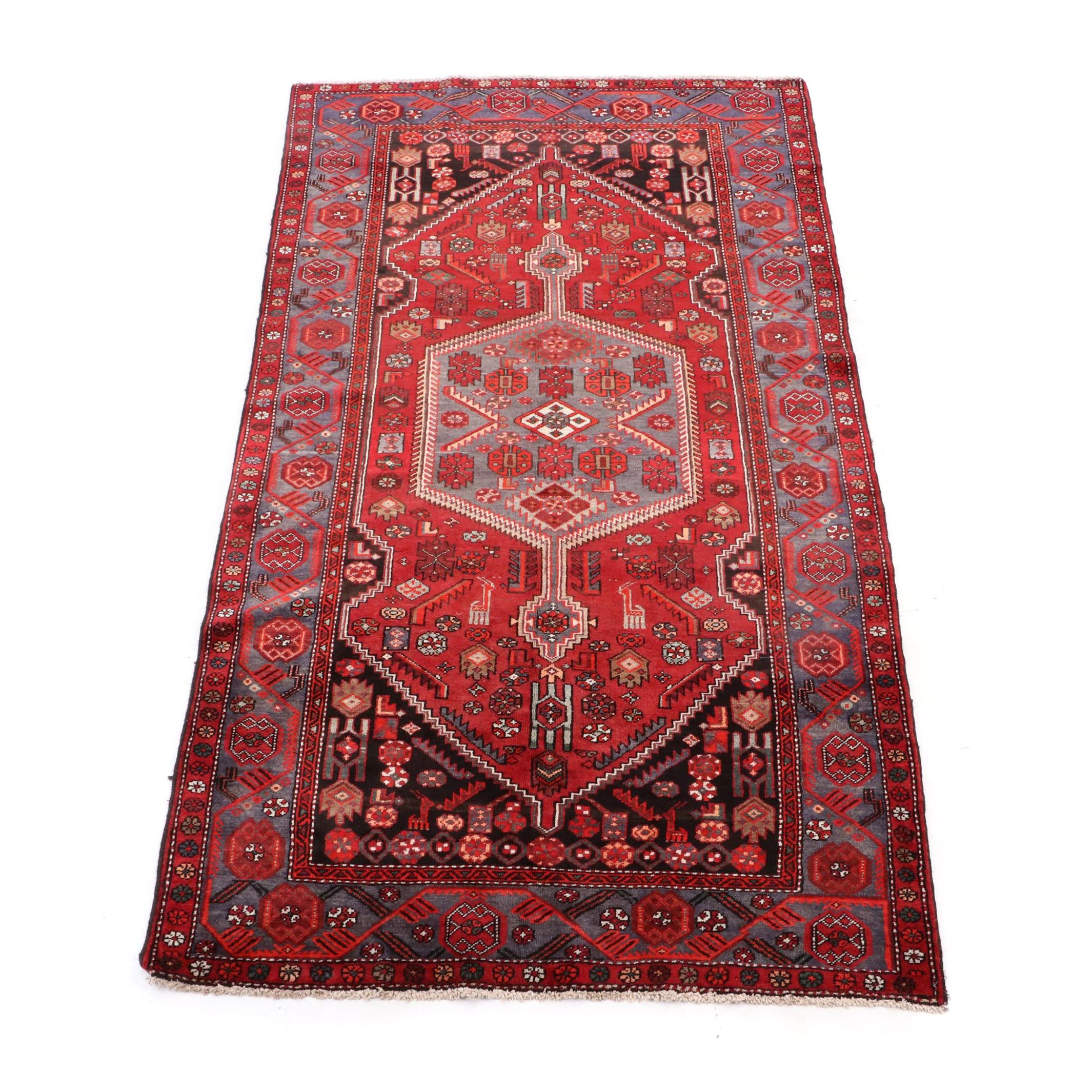 Hand-Knotted Persian Kurdish Bijar Rug