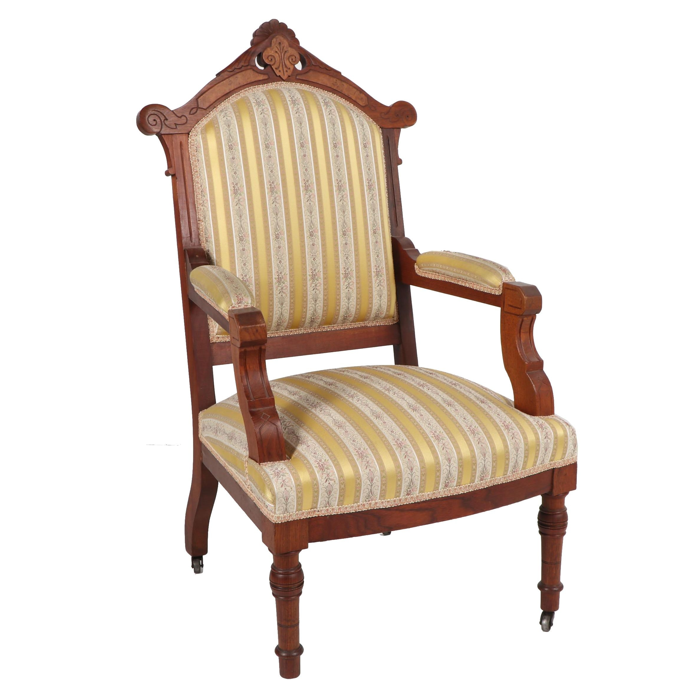 Eastlake Style Oak Armchair, Late 20th Century
