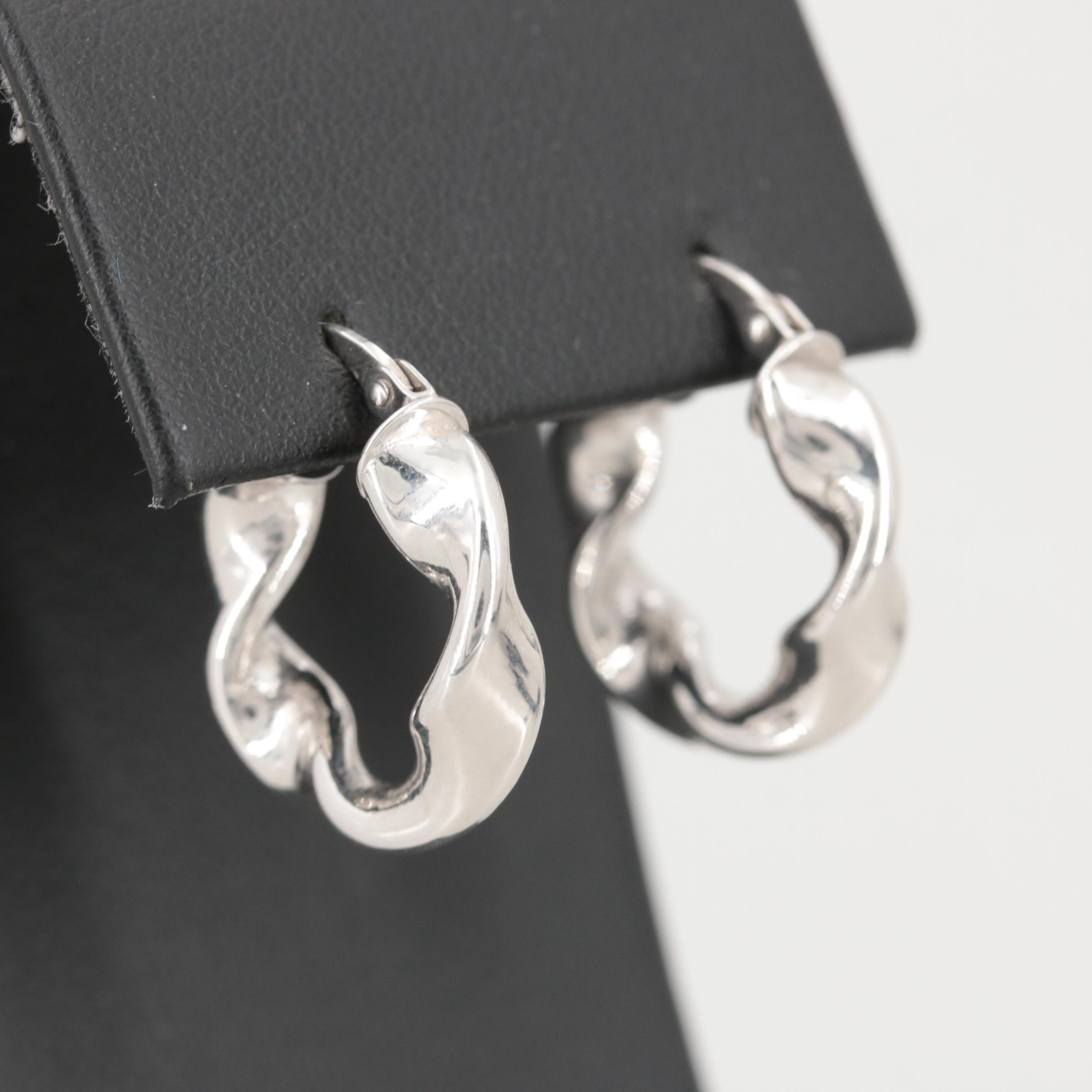 14K White Gold Twisted Hoop Earrings