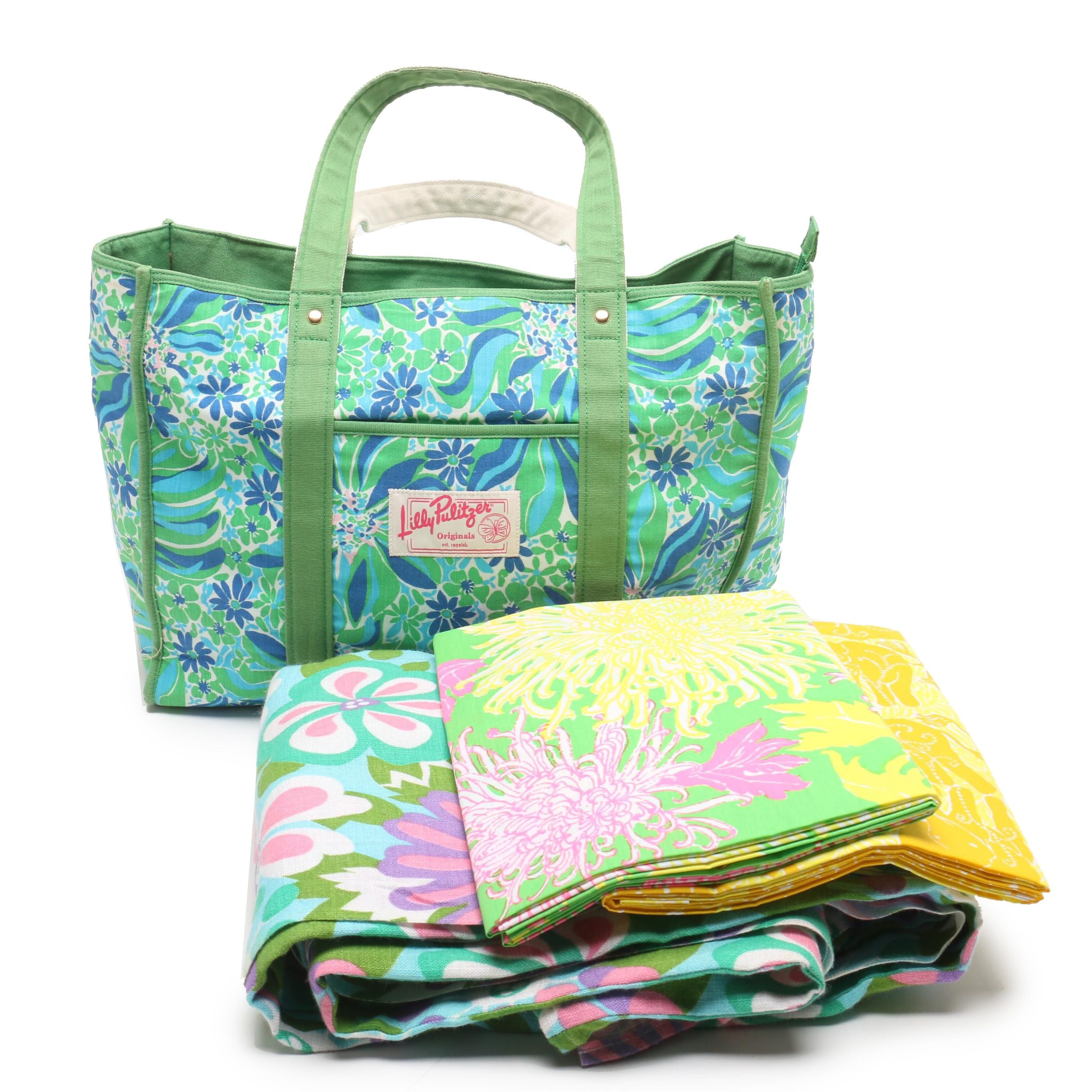 Lilly Pulitzer Originals Patterned Tote Bag and Fabric