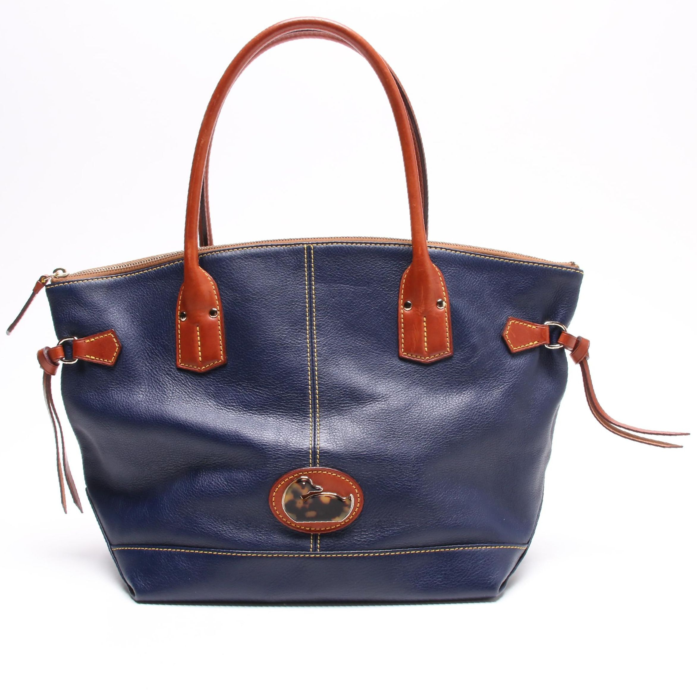 Dooney & Bourke Navy Blue Pebbled and Tan Leather Tote Bag