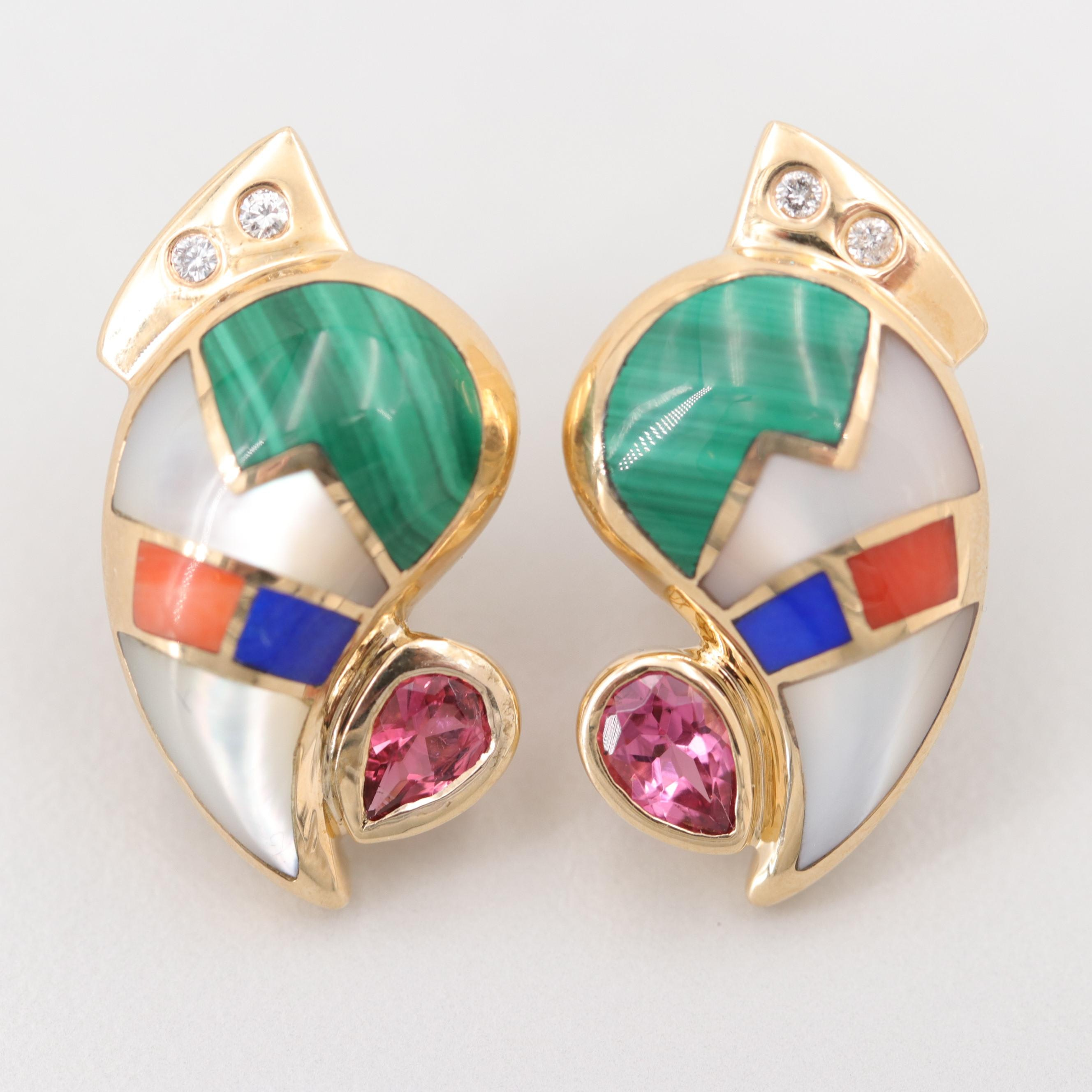 14K Yellow Gold Tourmaline, Diamond and Malachite Inlay Earrings