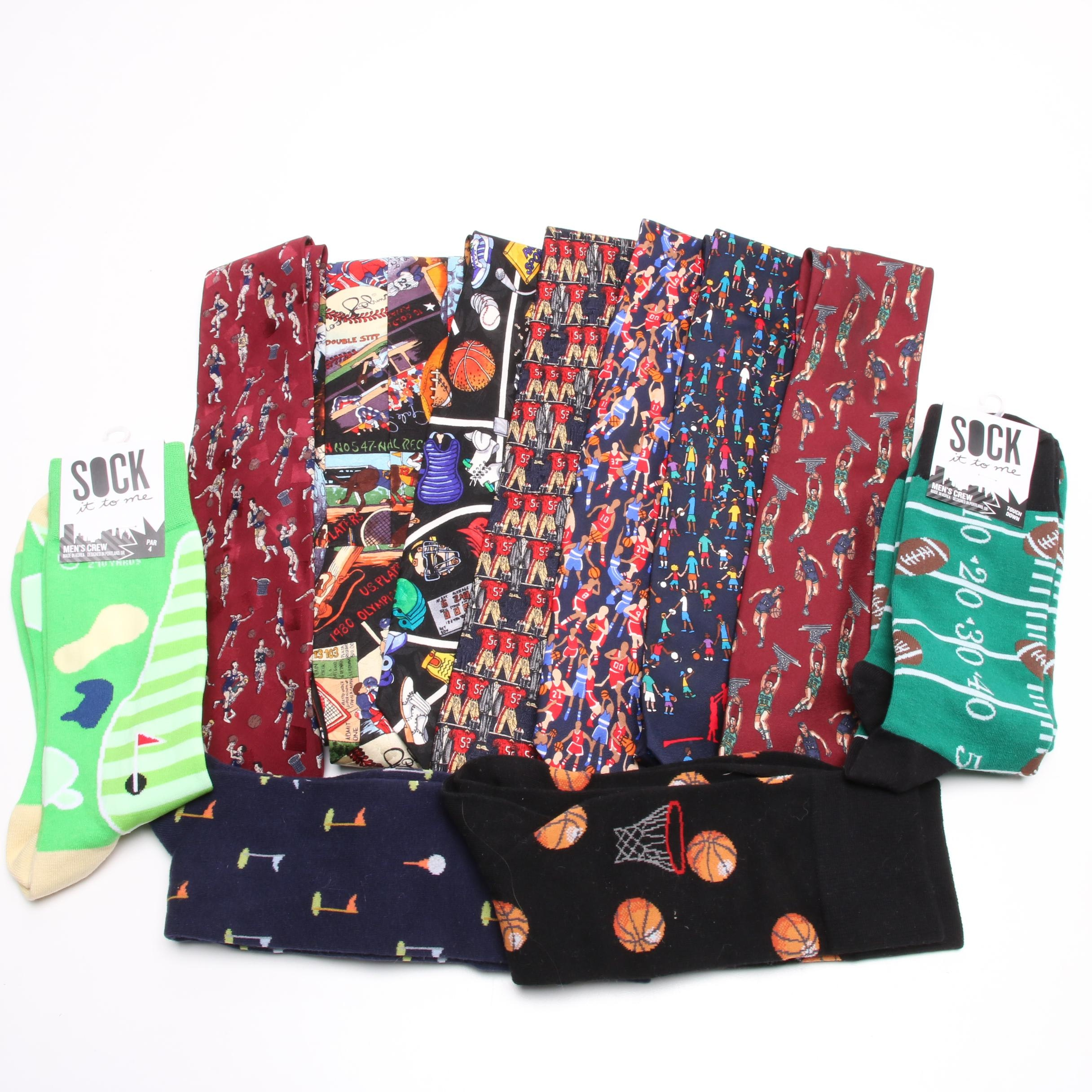 Sports Themed Neckties and Socks Including Ermenegildo Zegna and Nicole Miller