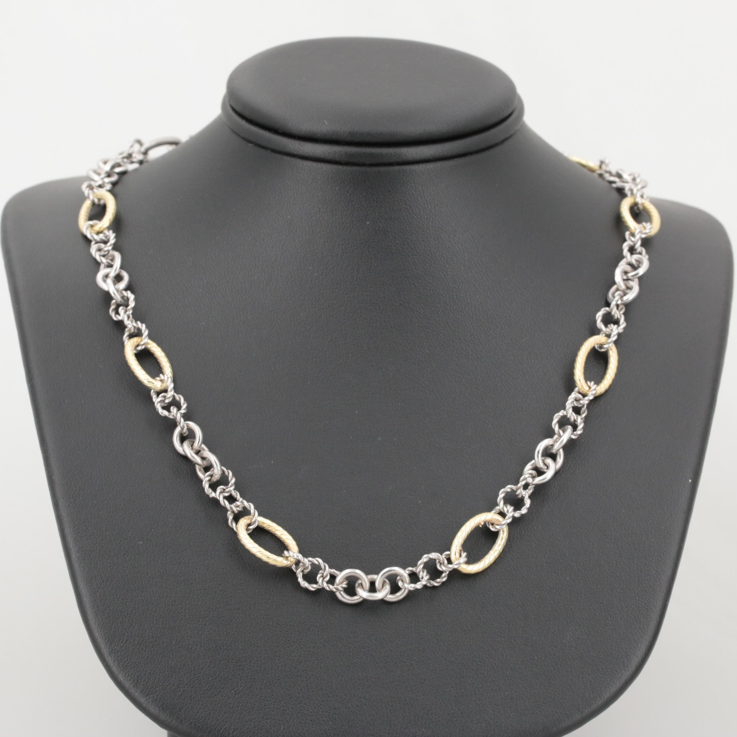 Philip Gavriel Sterling Silver and 18K Yellow Gold Italian Cable Chain