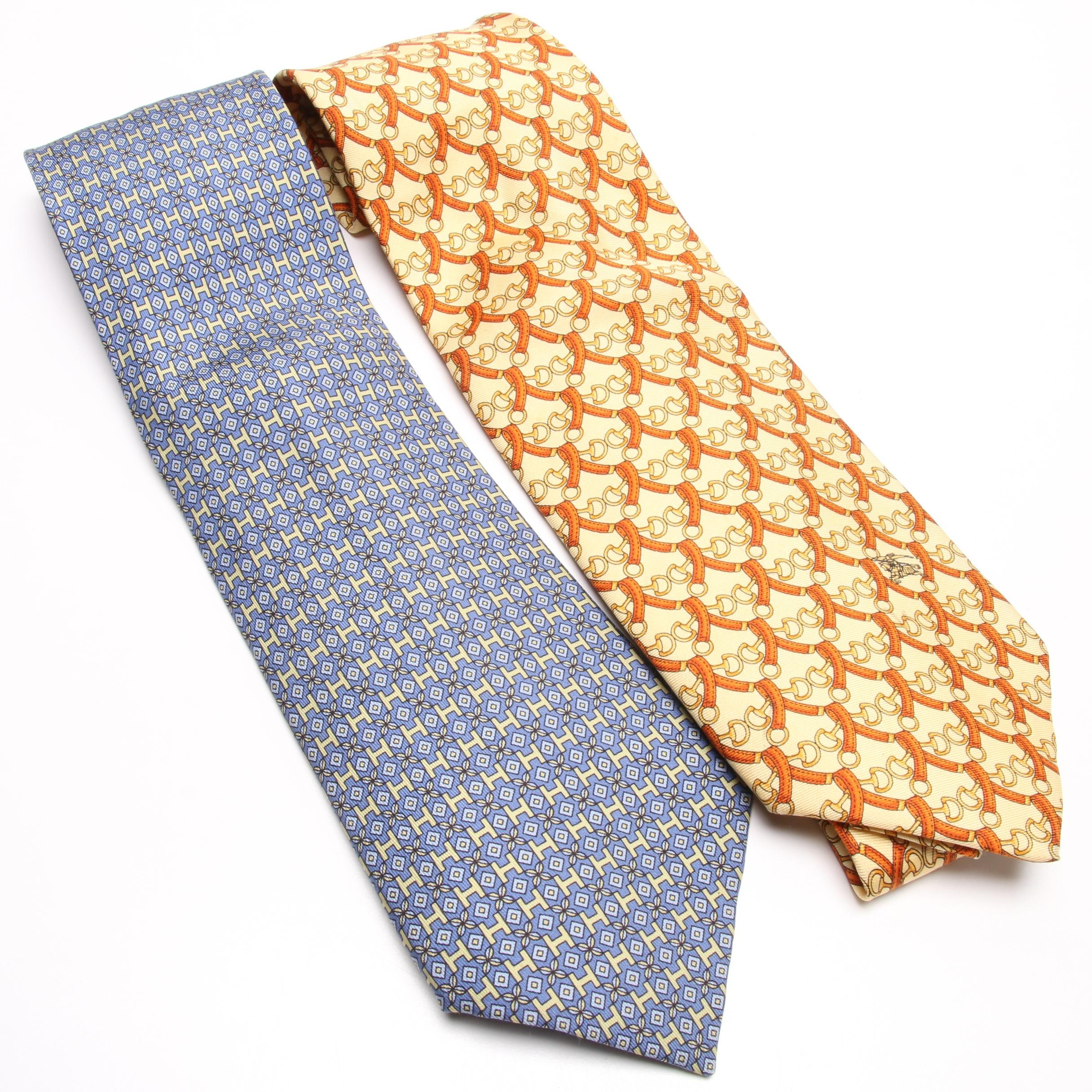 Men's Hermès Paris Keeneland Club and Burberry London Silk Neckties