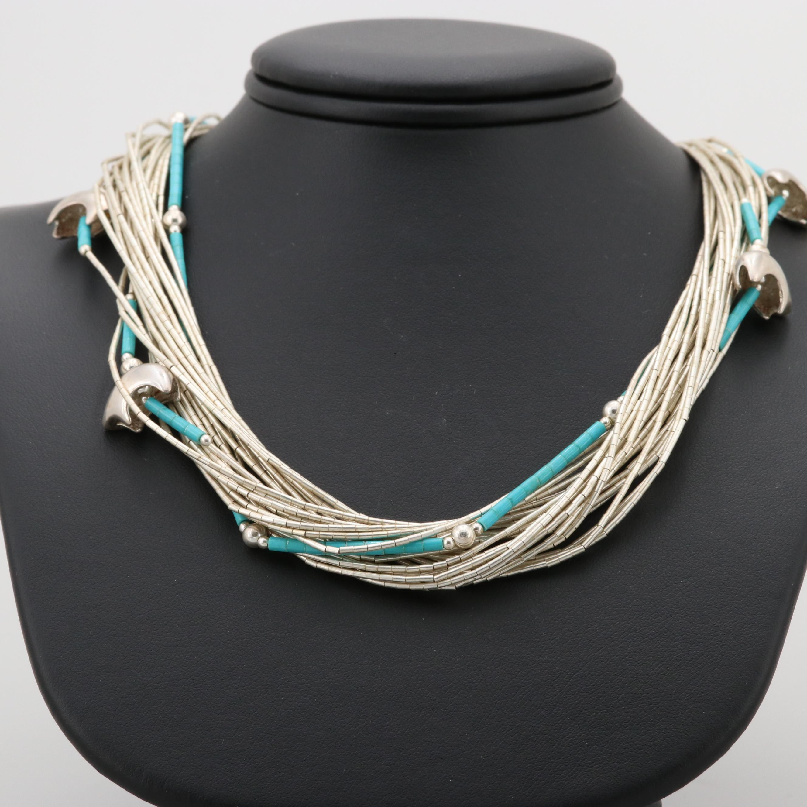 Southwestern Style Liquid Sterling Silver Turquoise Fetish Necklace