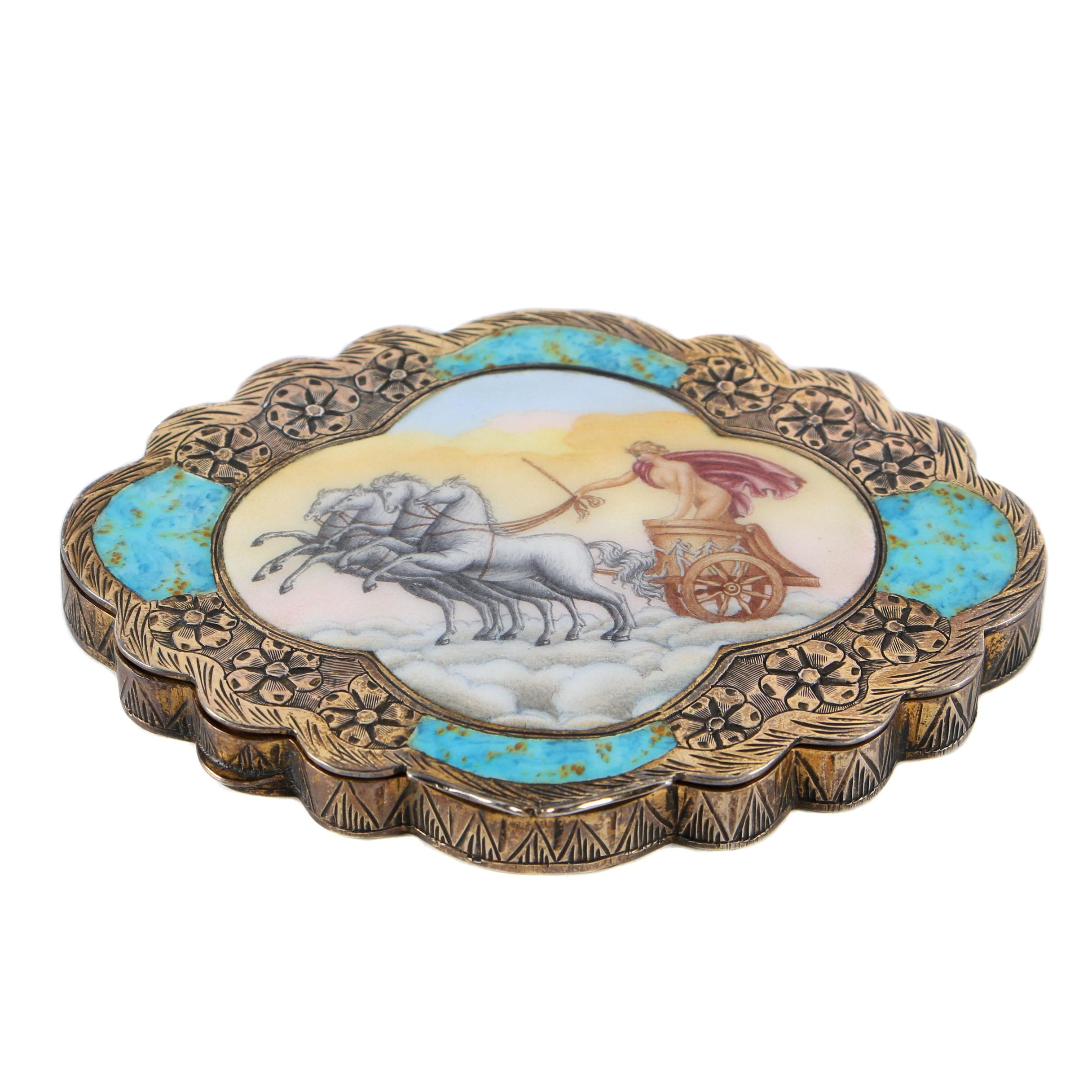 Italian Neoclassical Gilt 800 Silver and Enamel Compact, 20th Century