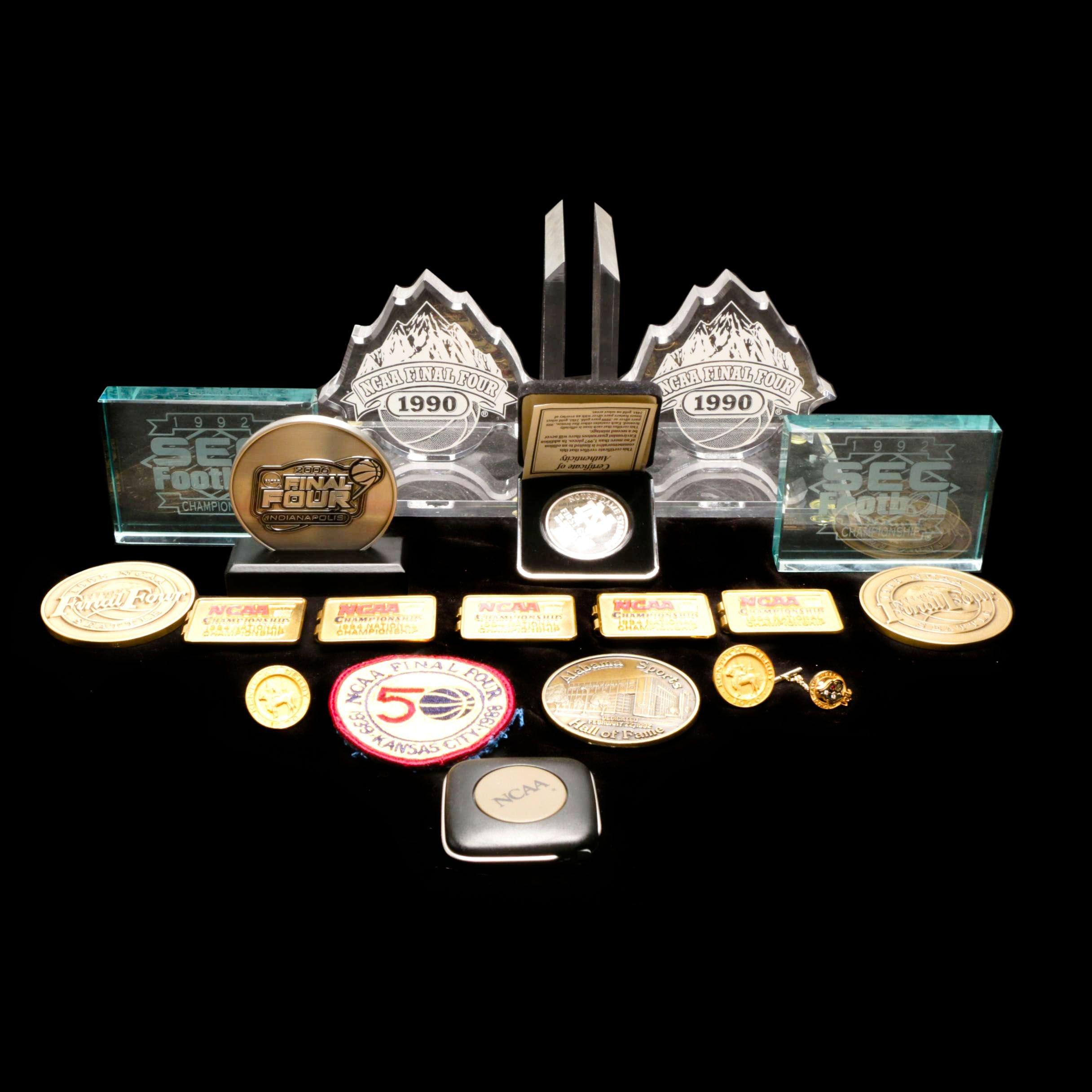 NCAA Sports Commemorative Mementos Including Paperweights