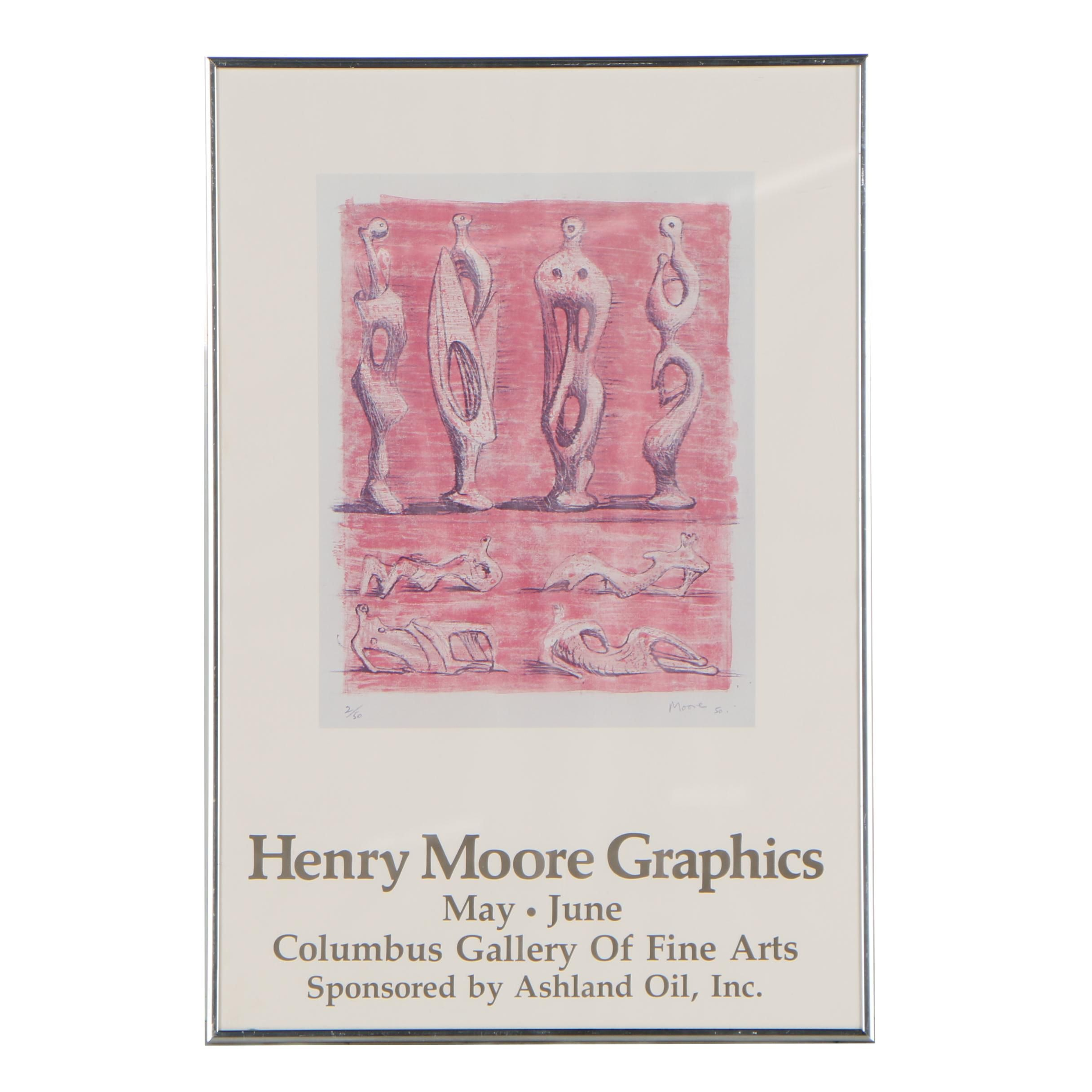 """Offset Lithograph Gallery Poster after Henry Moore """"Standing and Reclining..."""""""
