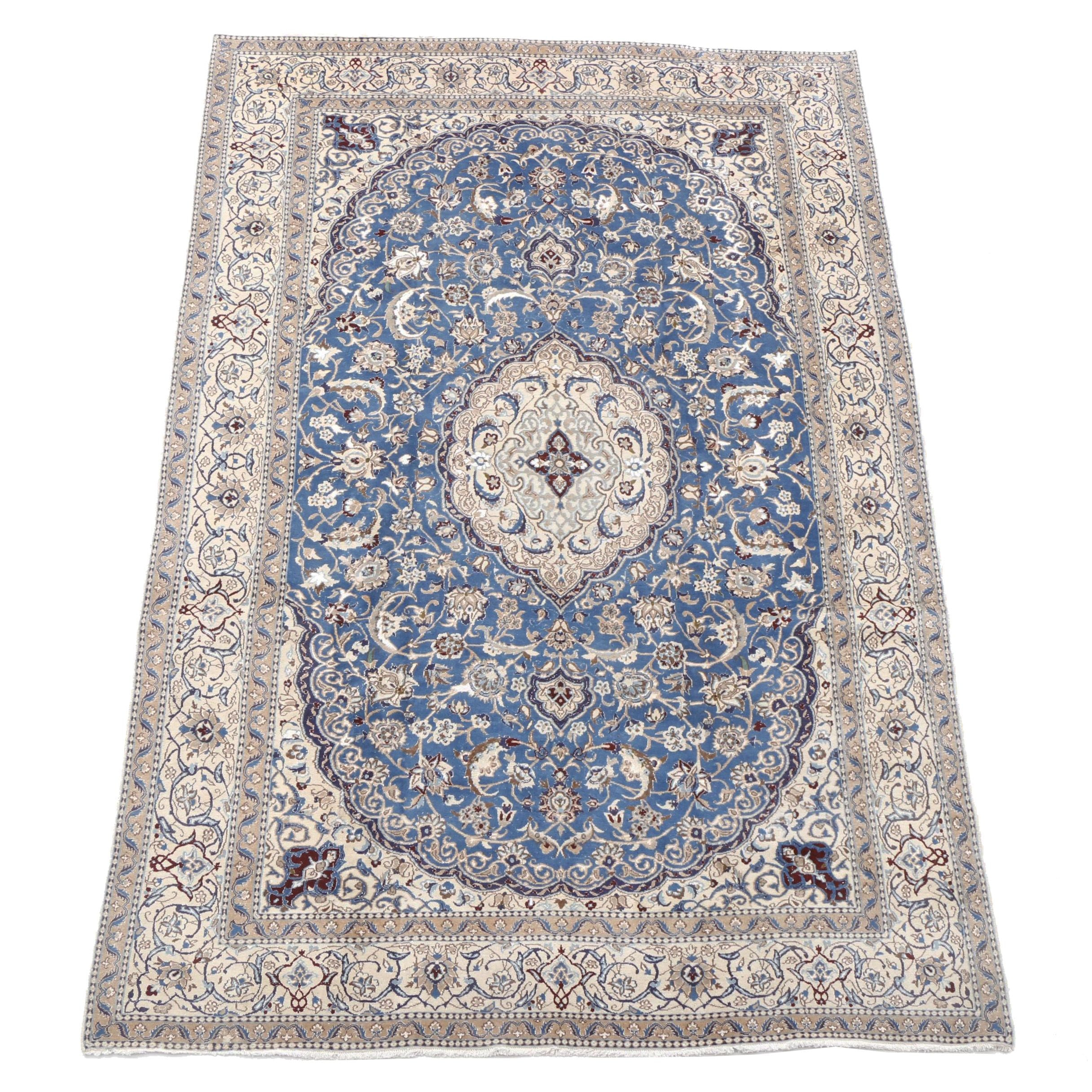 Hand-Knotted Persian Nain Silk and Wool Room-Sized Rug