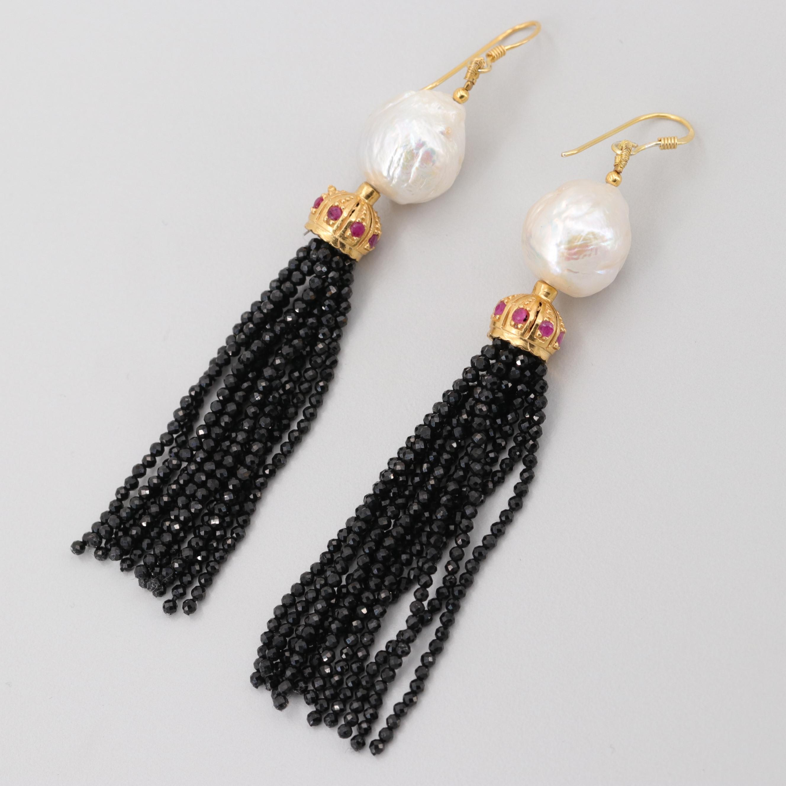 Gold Wash on Sterling Silver Cultured Pearl, Ruby and Onyx Tassel Earrings