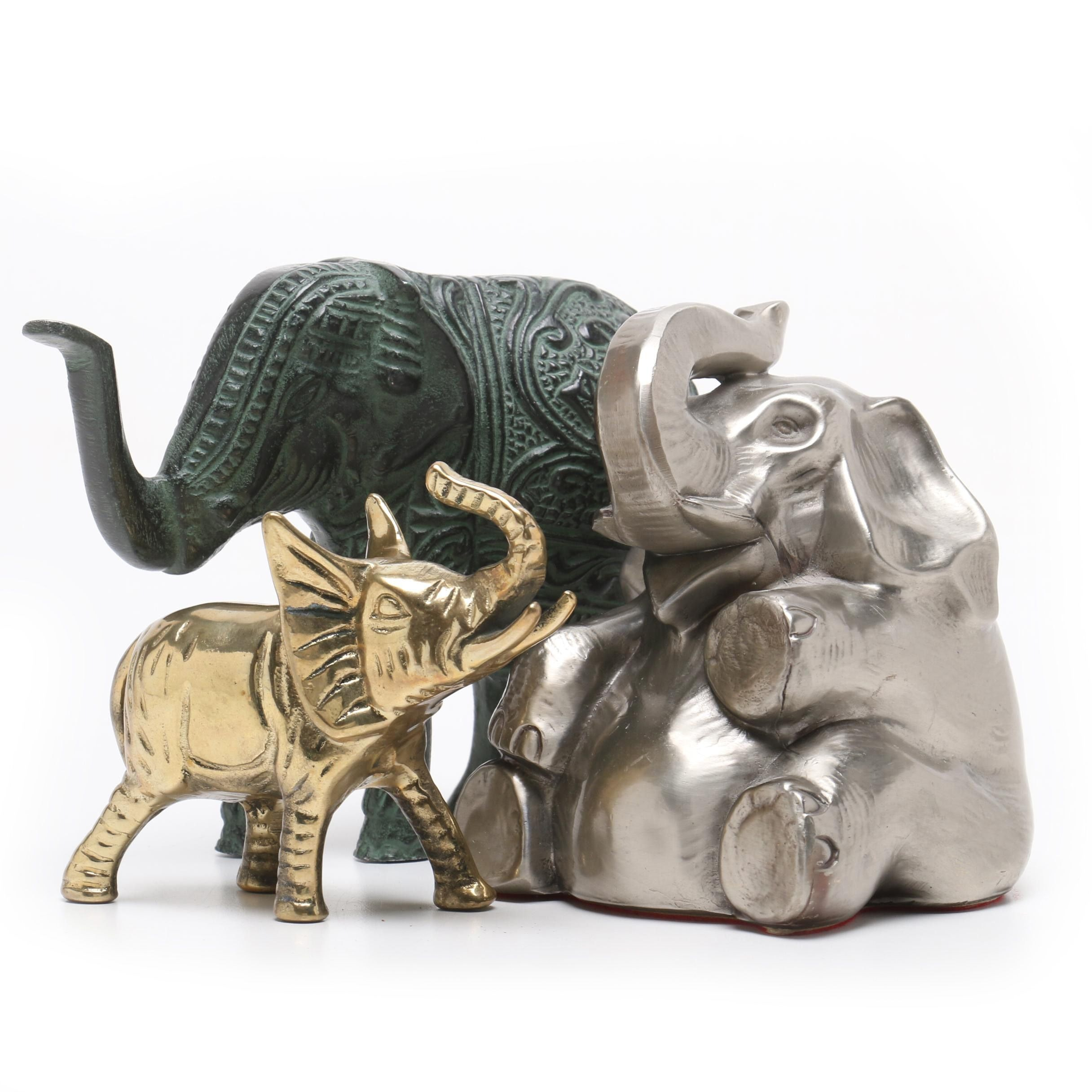Group of Metal Elephant Figurines