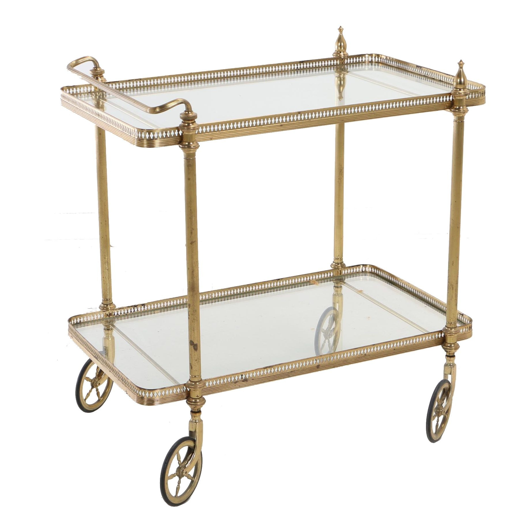 French Style Brass and Glass Two-Tier Serving Cart, Circa 1950