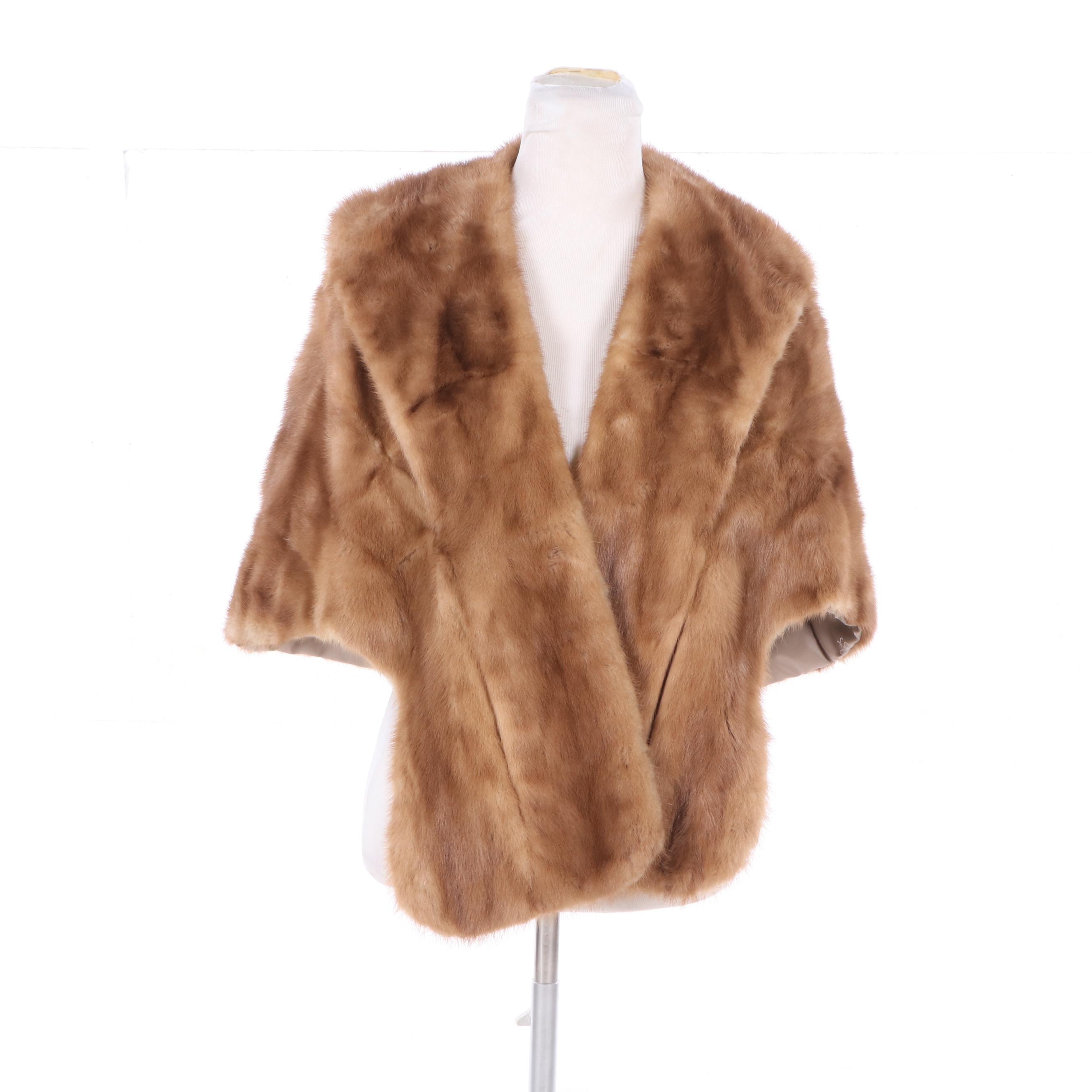Women's Vintage Pastel Mink Fur Stole