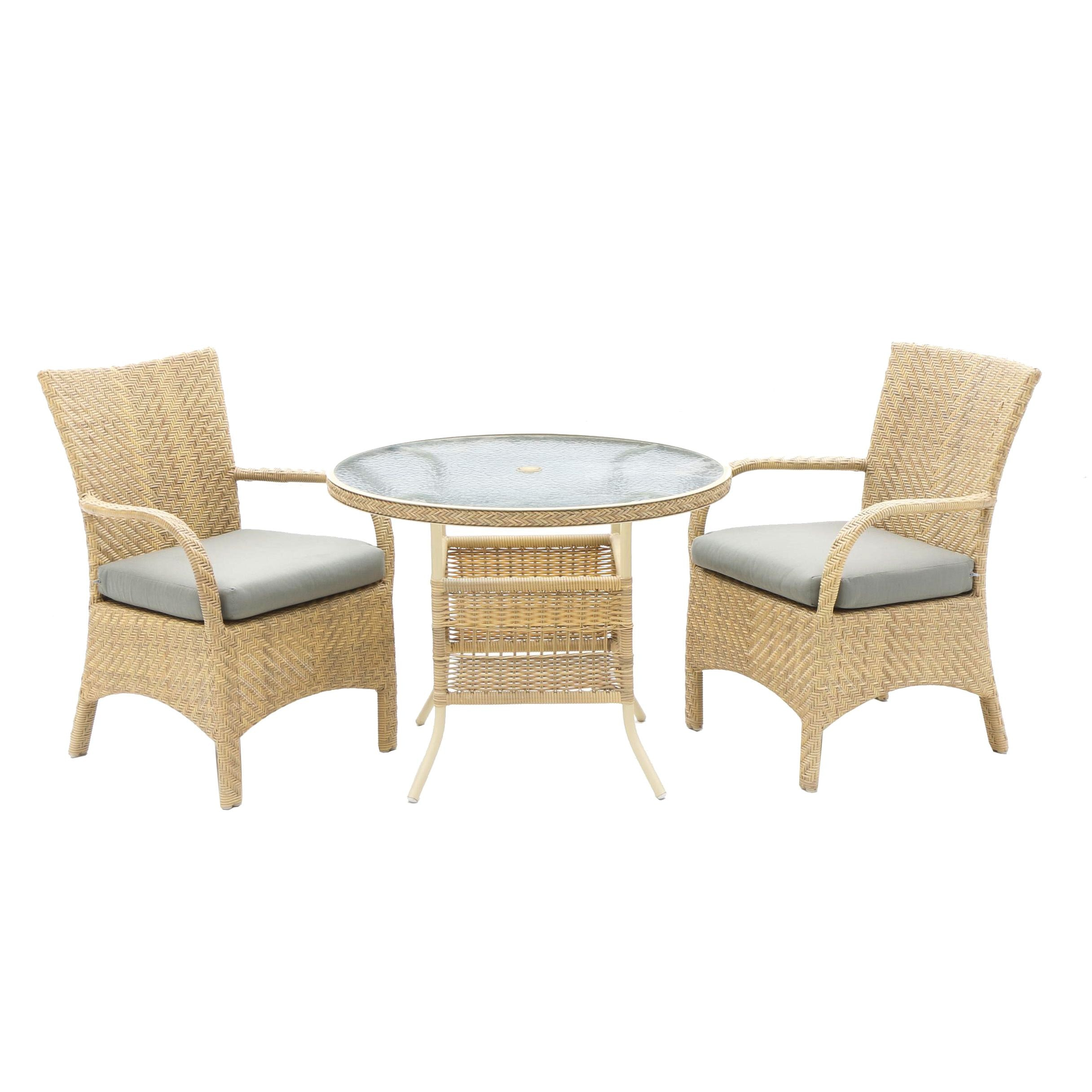 Wicker Patio Set with Small Dining Table and Two Chairs