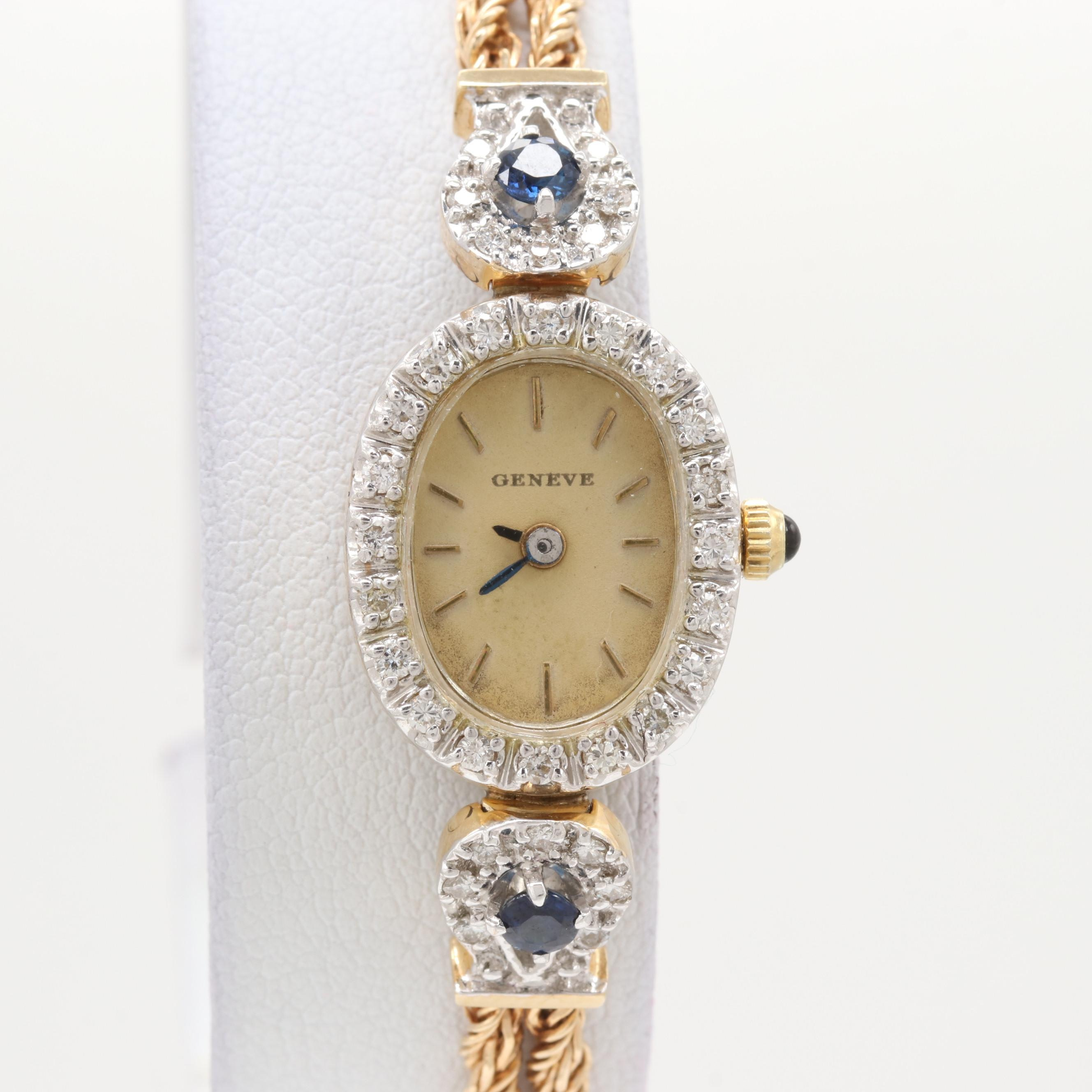 Geneve 14K Yellow Gold Diamond and Sapphire Quartz Wristwatch