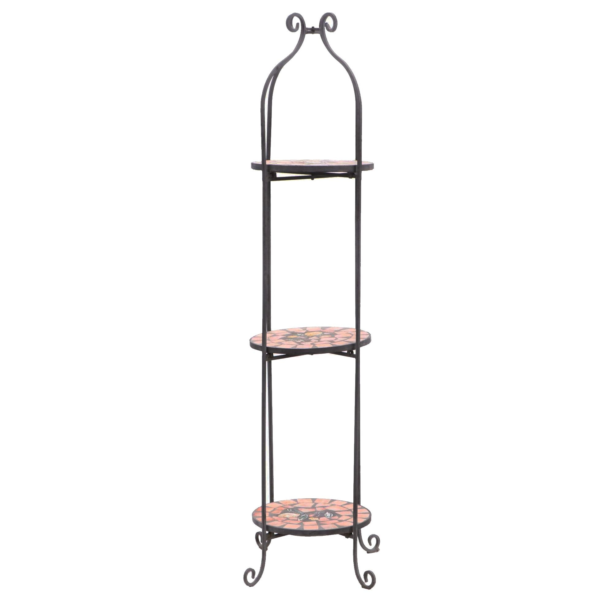 Wrought Iron Three Tier Plant Stand with Tile Shelves