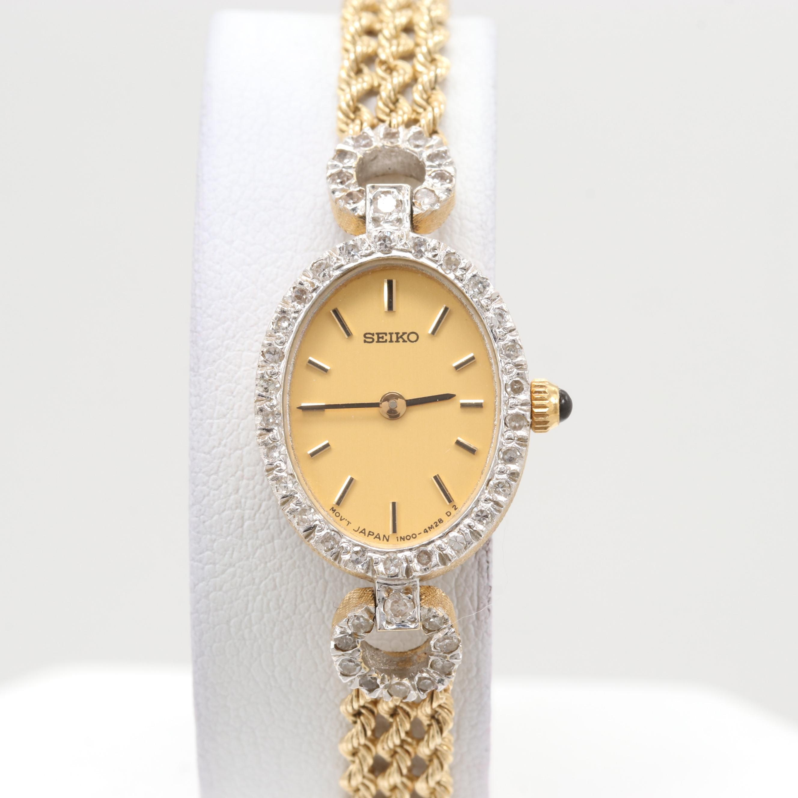 Seiko 14K Yellow Gold Quartz Wristwatch With Diamond Lugs and Bezel