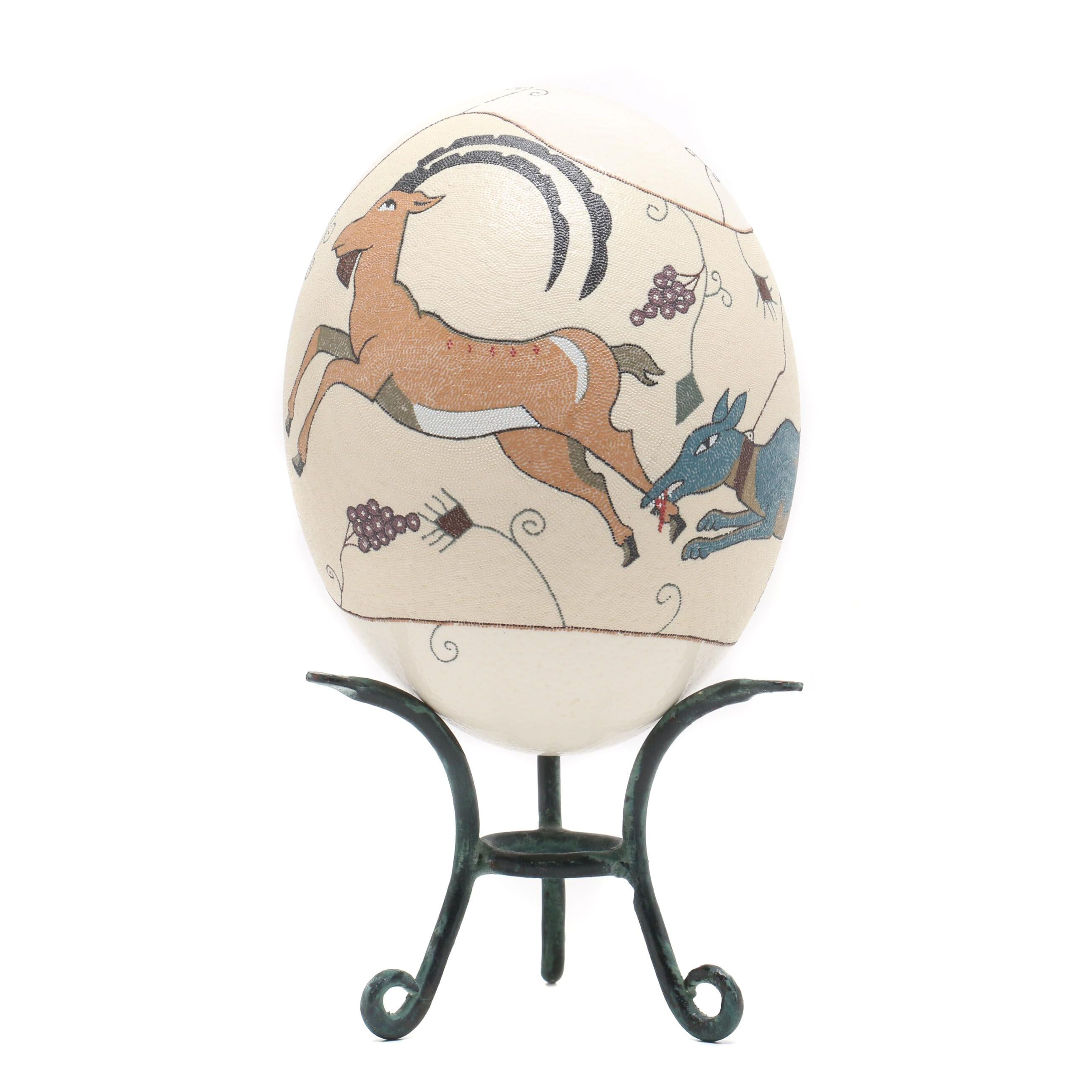 Painted Ostrich Egg Shell with Stand