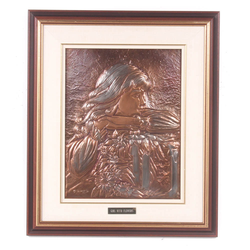 """Panagiotes (Peter) Zoudis Copper Relief Plaque """"Girl with Flowers"""""""