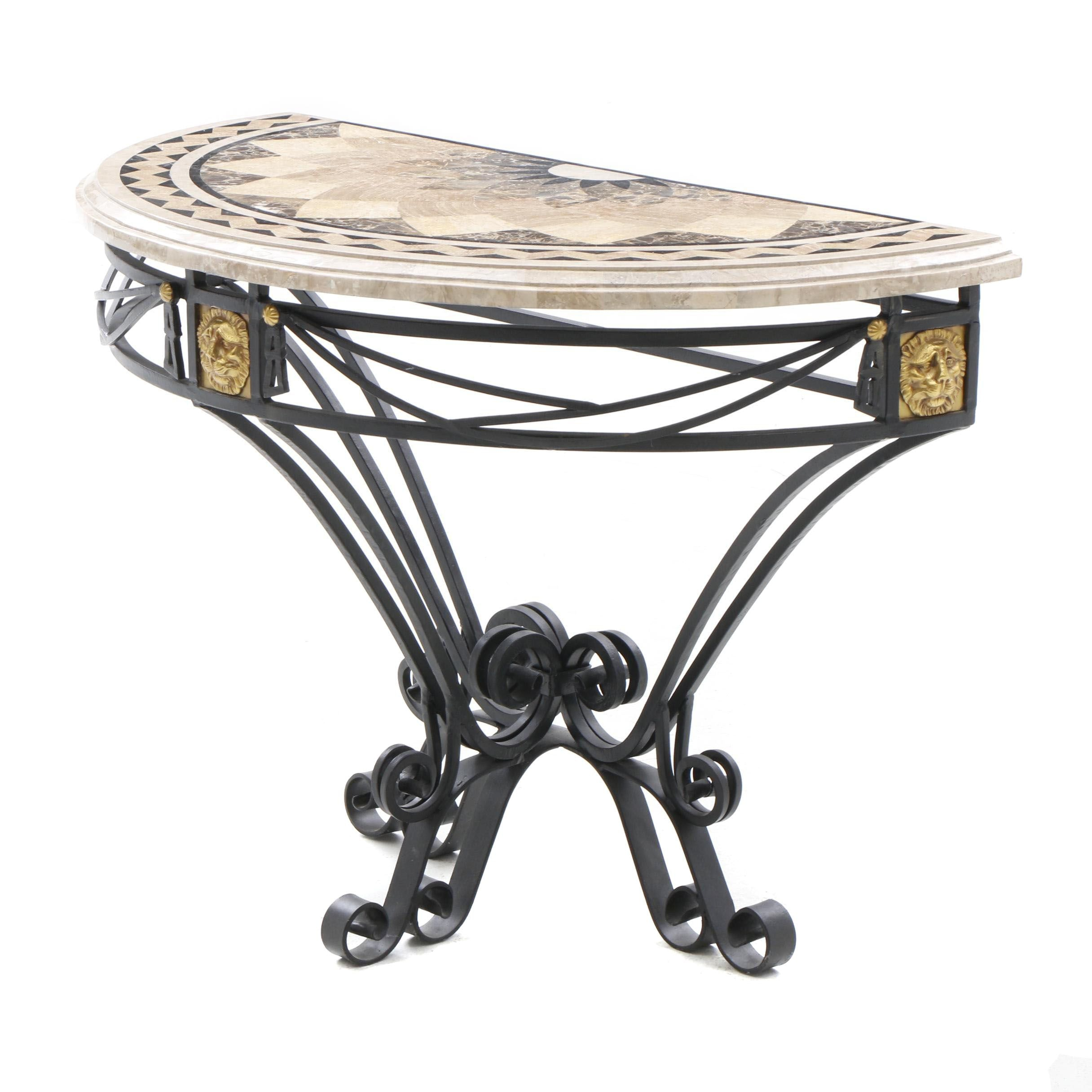 Maitland-Smith Marble Top Demilune Table