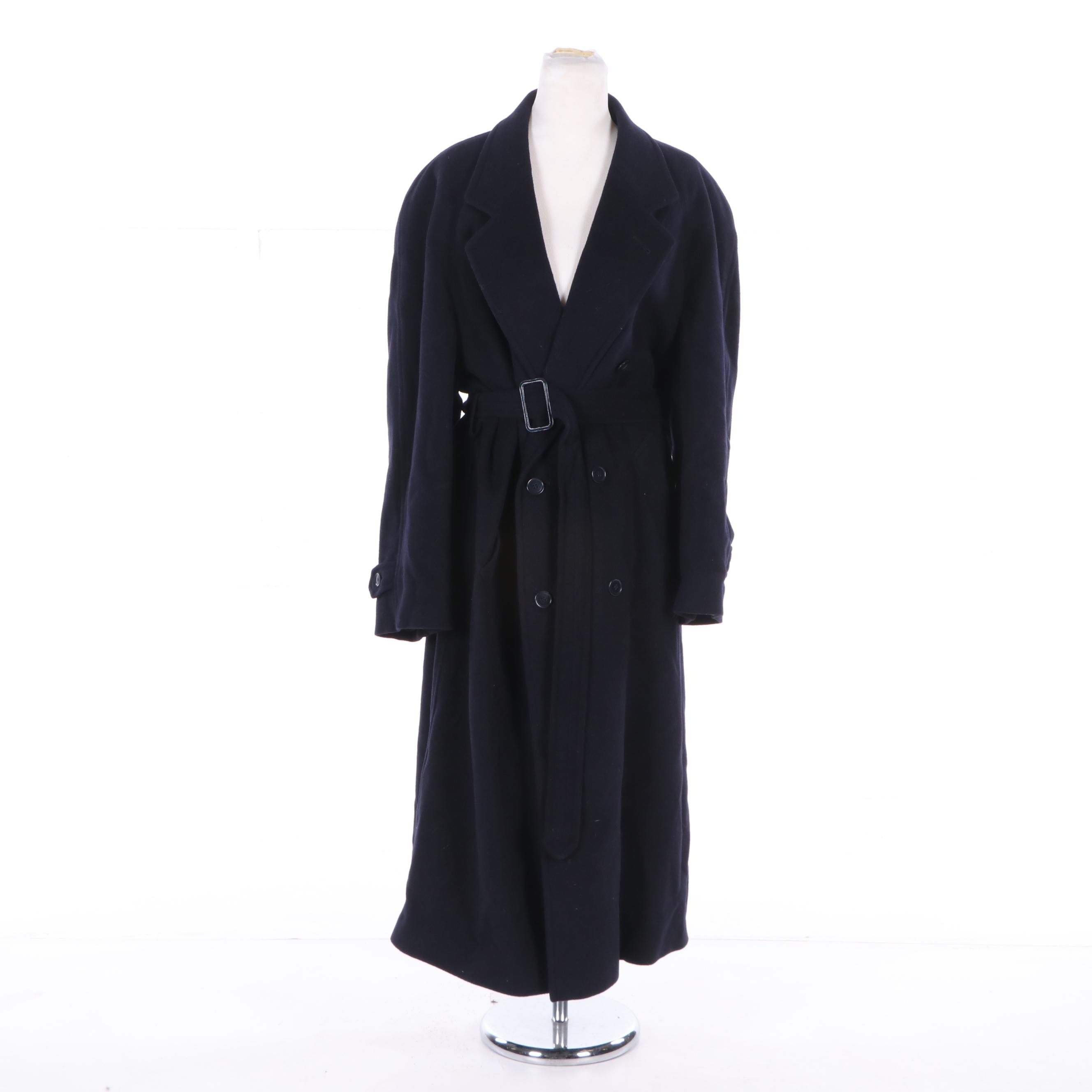 Men's Givenchy Monsieur Navy Wool Double-Breasted Coat with Belt, Made in Italy