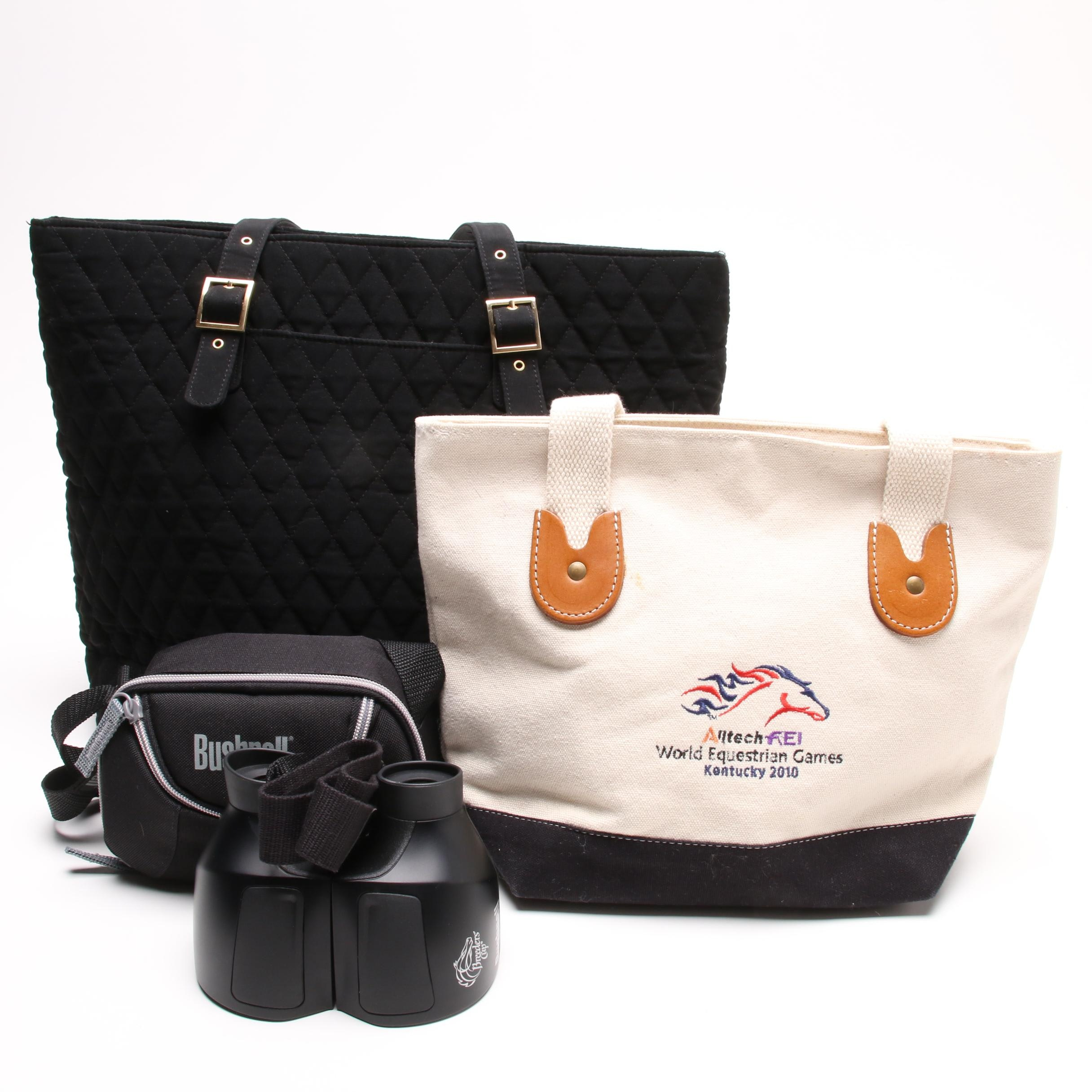 Vera Bradley Black Quilted Tote, Bushnell Breeders Cup Binoculars, and a Tote