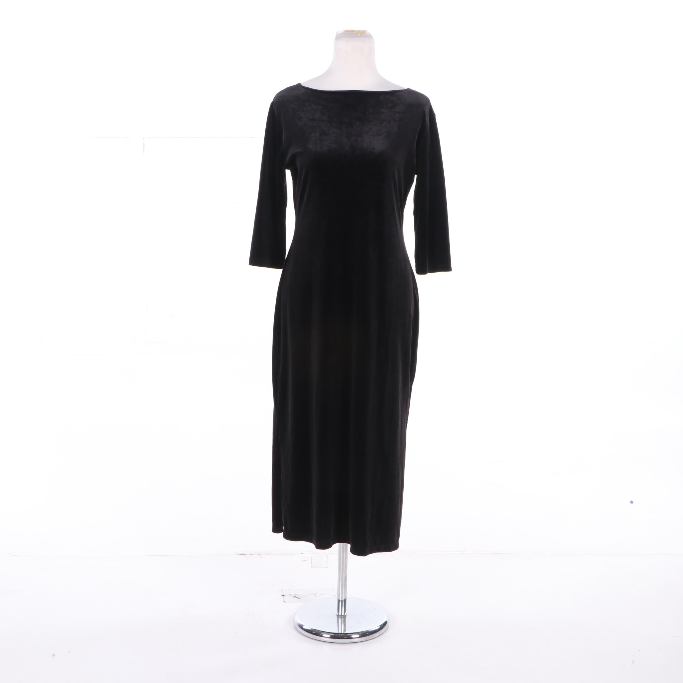 Barneys New York Co-Op Black Velveteen Dress