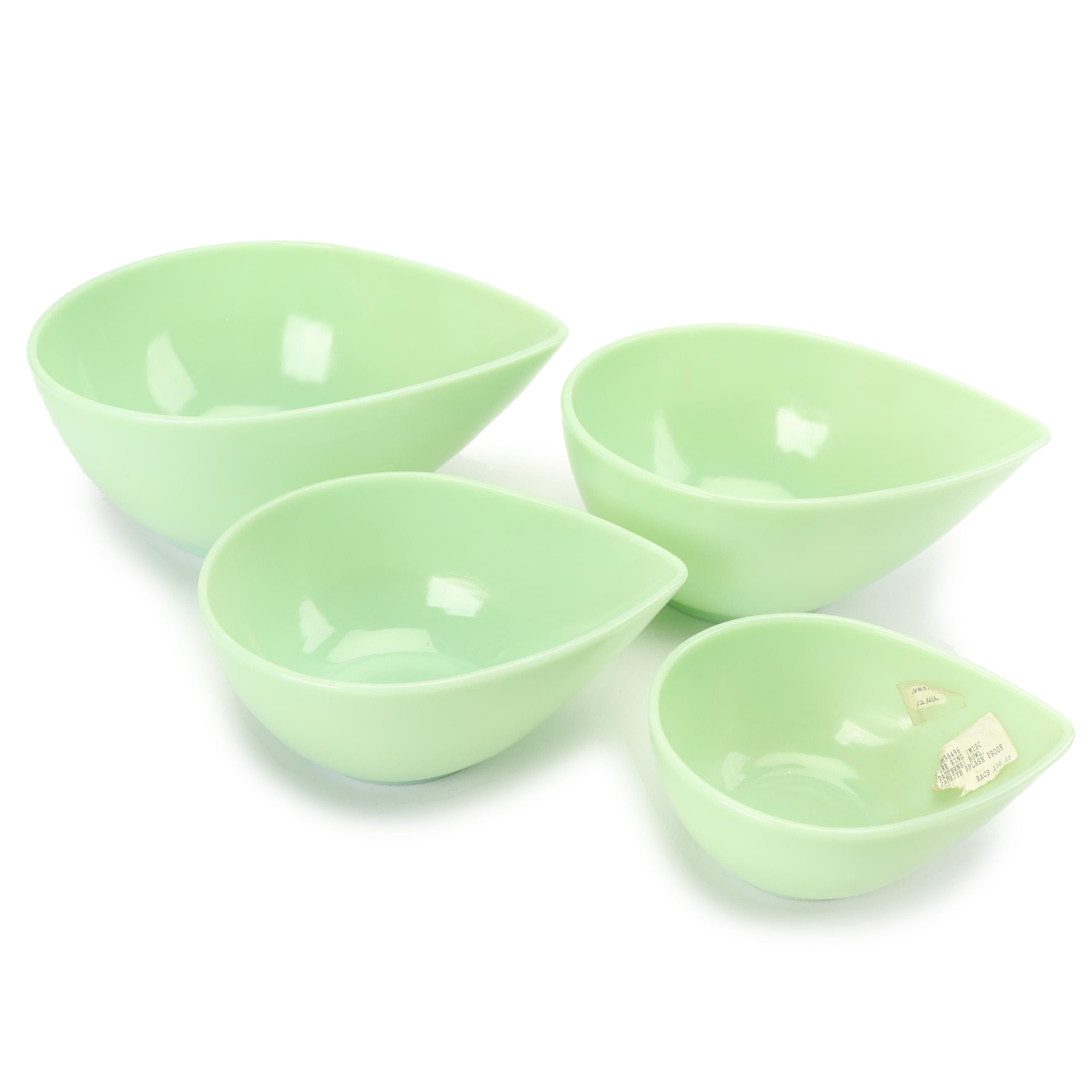 Fire King Jade-ite Glass Teardrop Nesting Bowls, Mid-Century