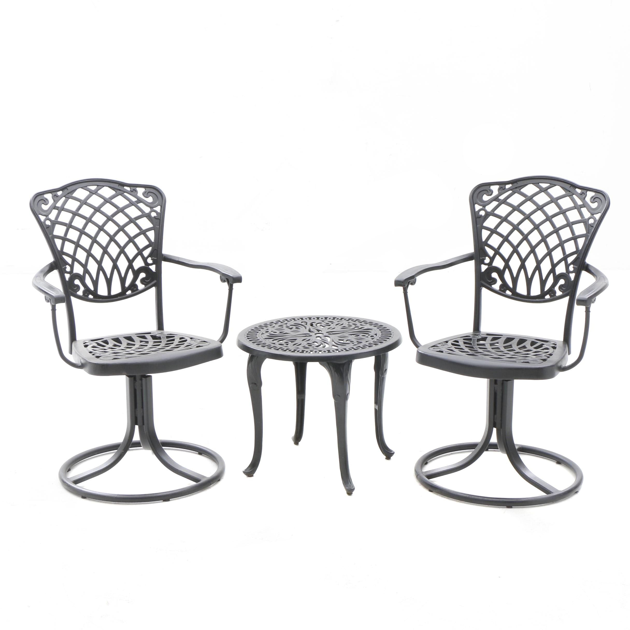 Outdoor Lifestyle Metal Patio Swivel Armchairs and Side Table in Black