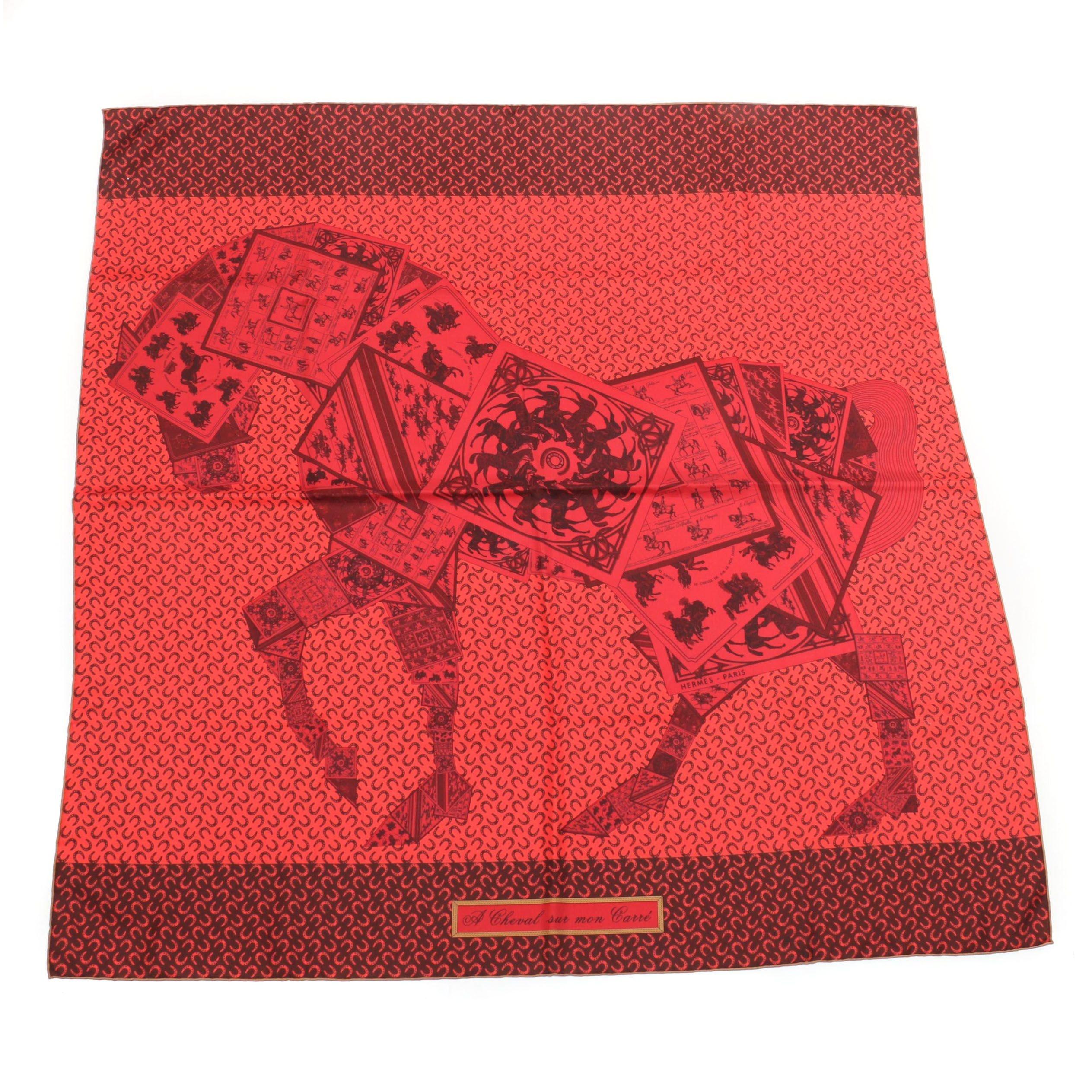 """Hermès """"A Cheval sur mon Carré"""" Silk Scarf"""